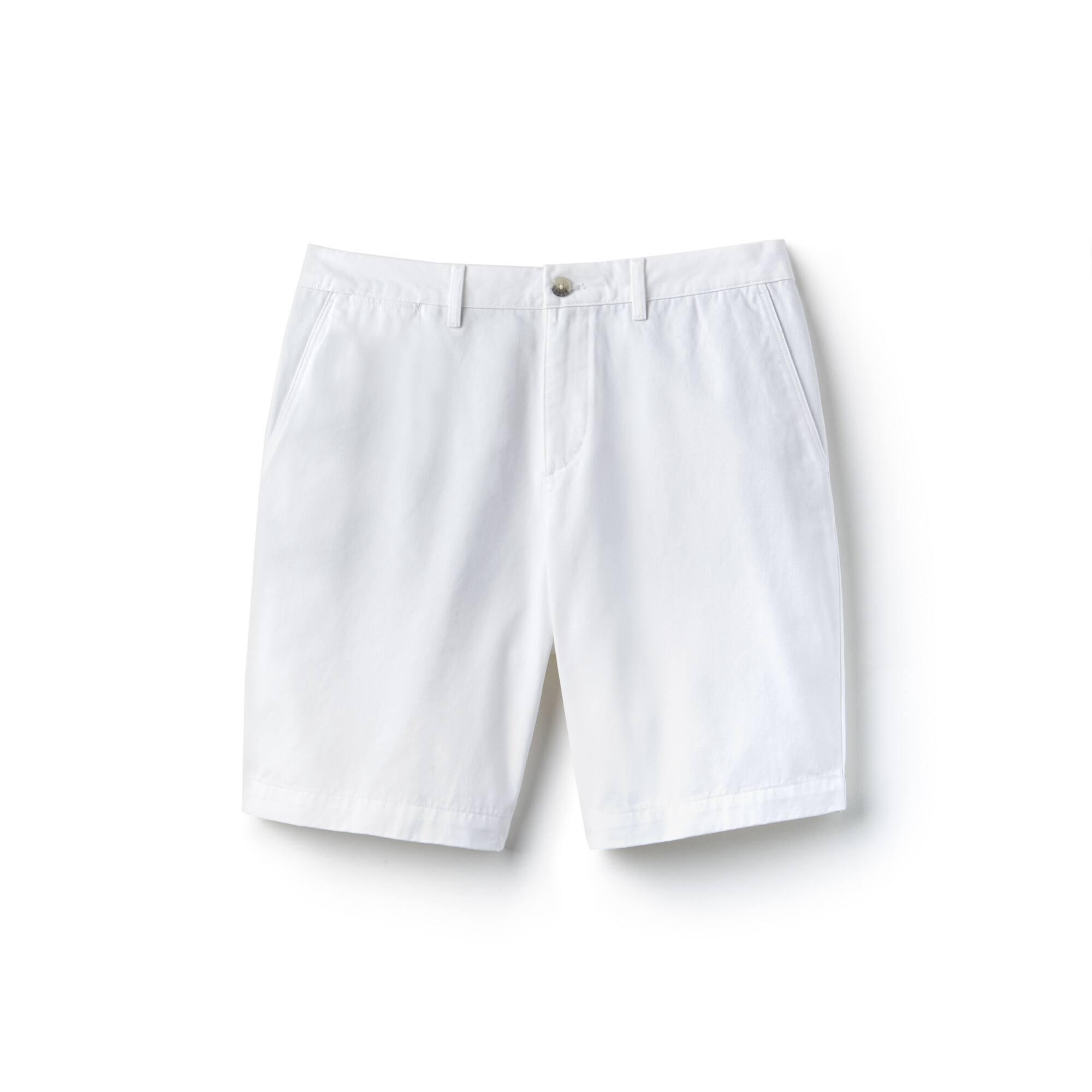 Bermudas regular fit em gabardina de algodão unicolor