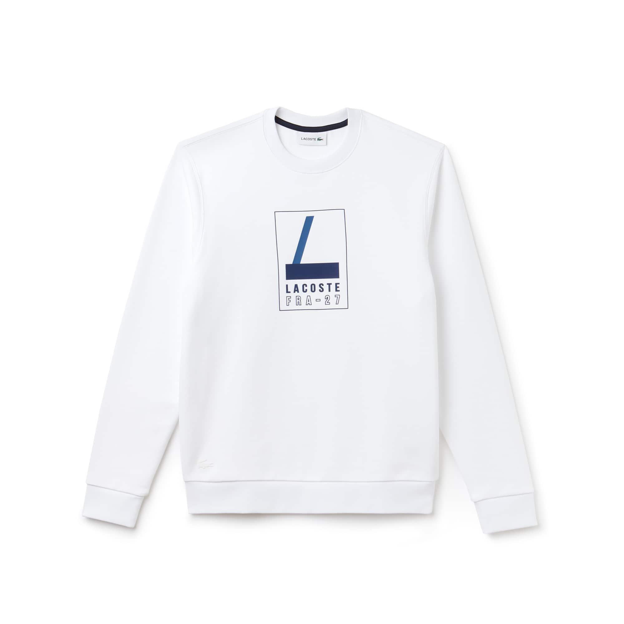 Sweatshirt com decote redondo em moletão com impressão Lacoste