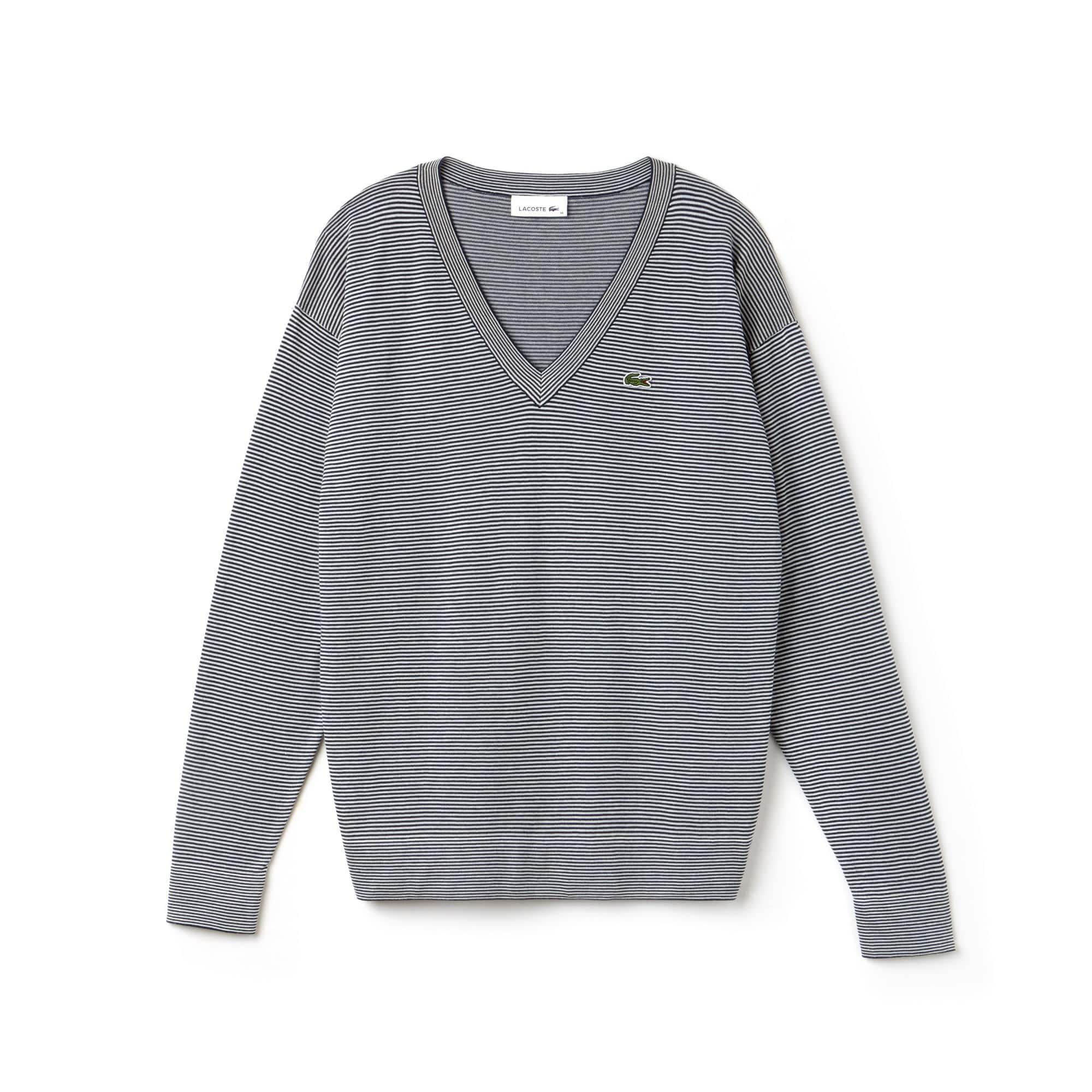 Camisola de decote em V em jersey de algodão milleraies