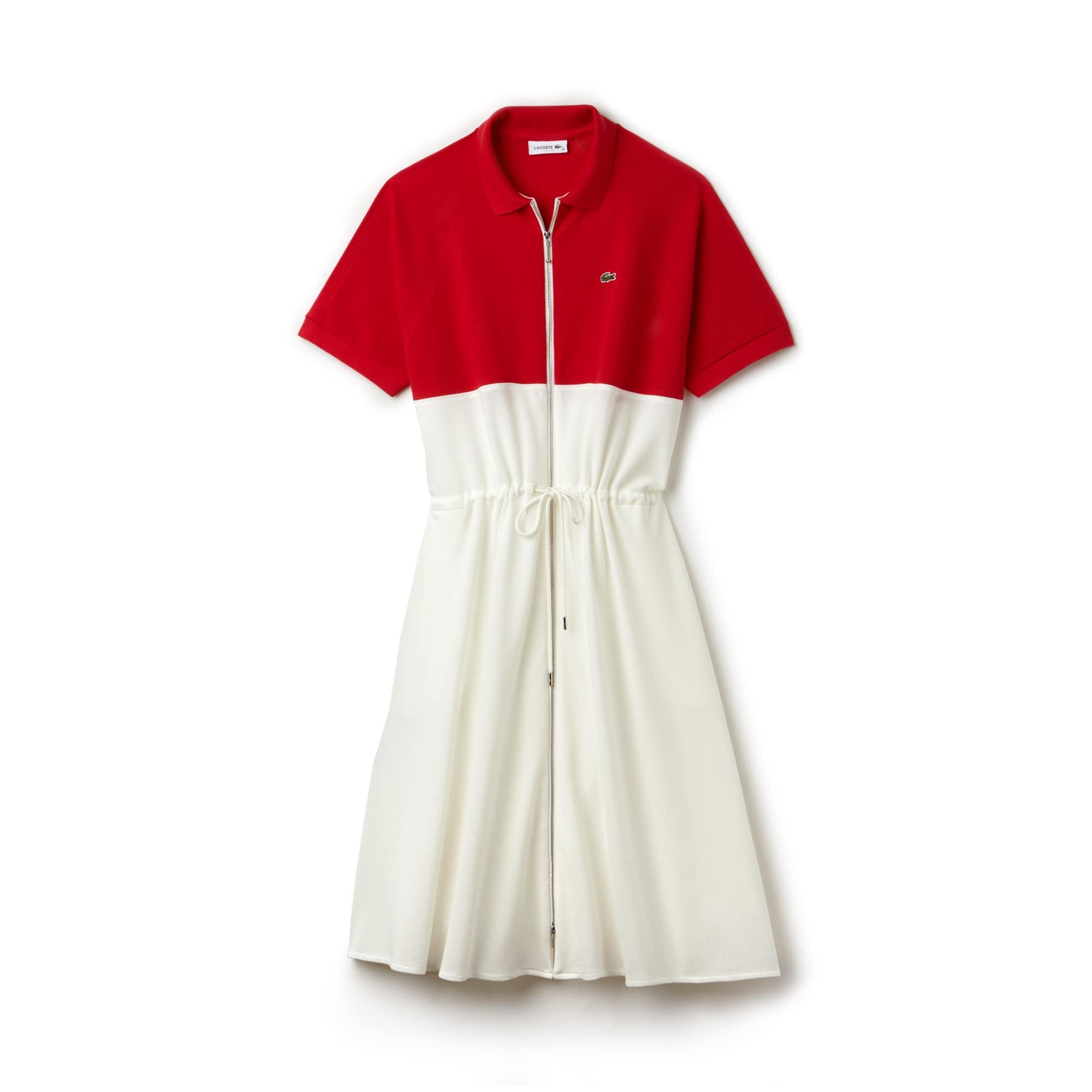 Vestido polo com fecho de correr Lacoste em petit piqué de algodão color block