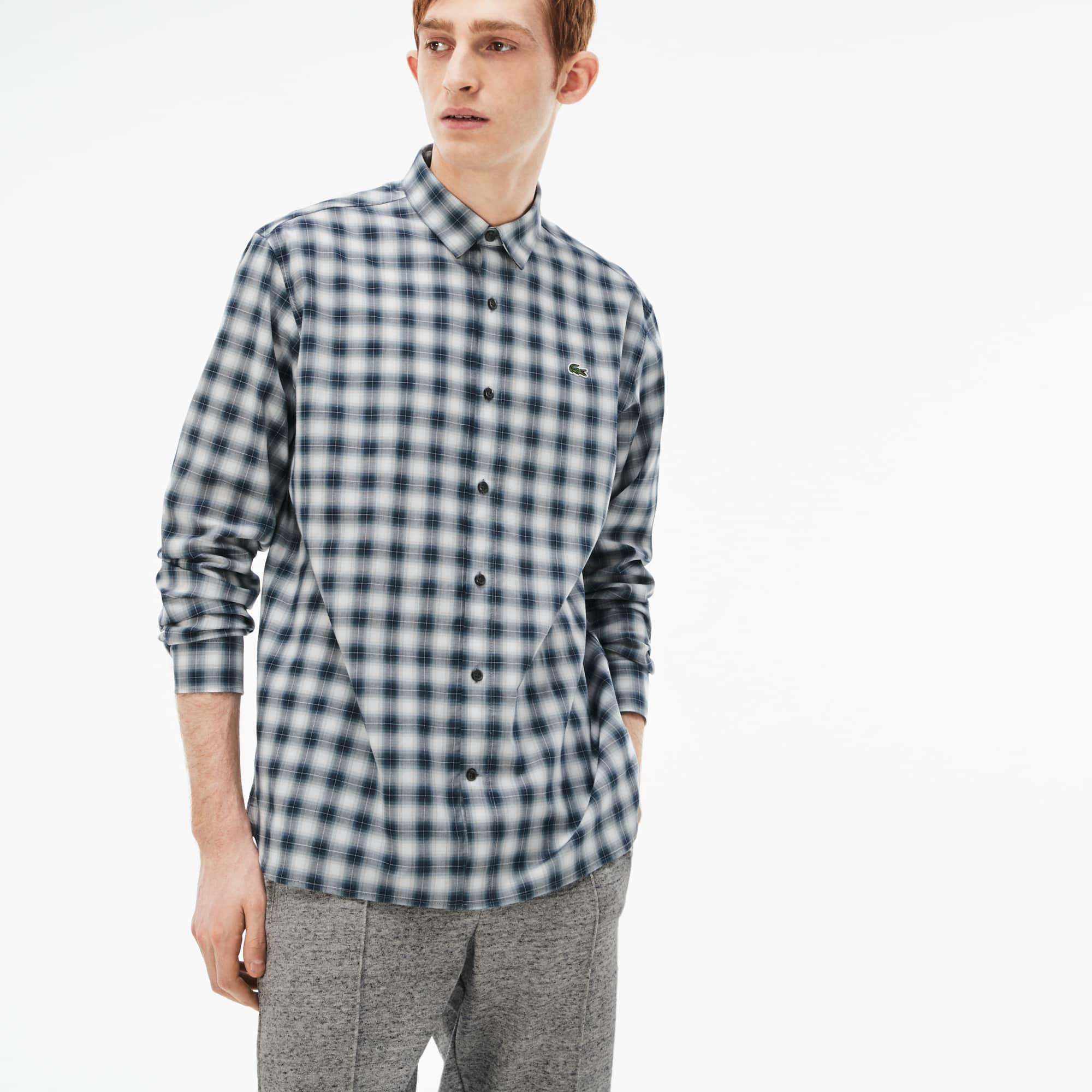 Camisa boxy fit Lacoste LIVE em popelina aos quadrados