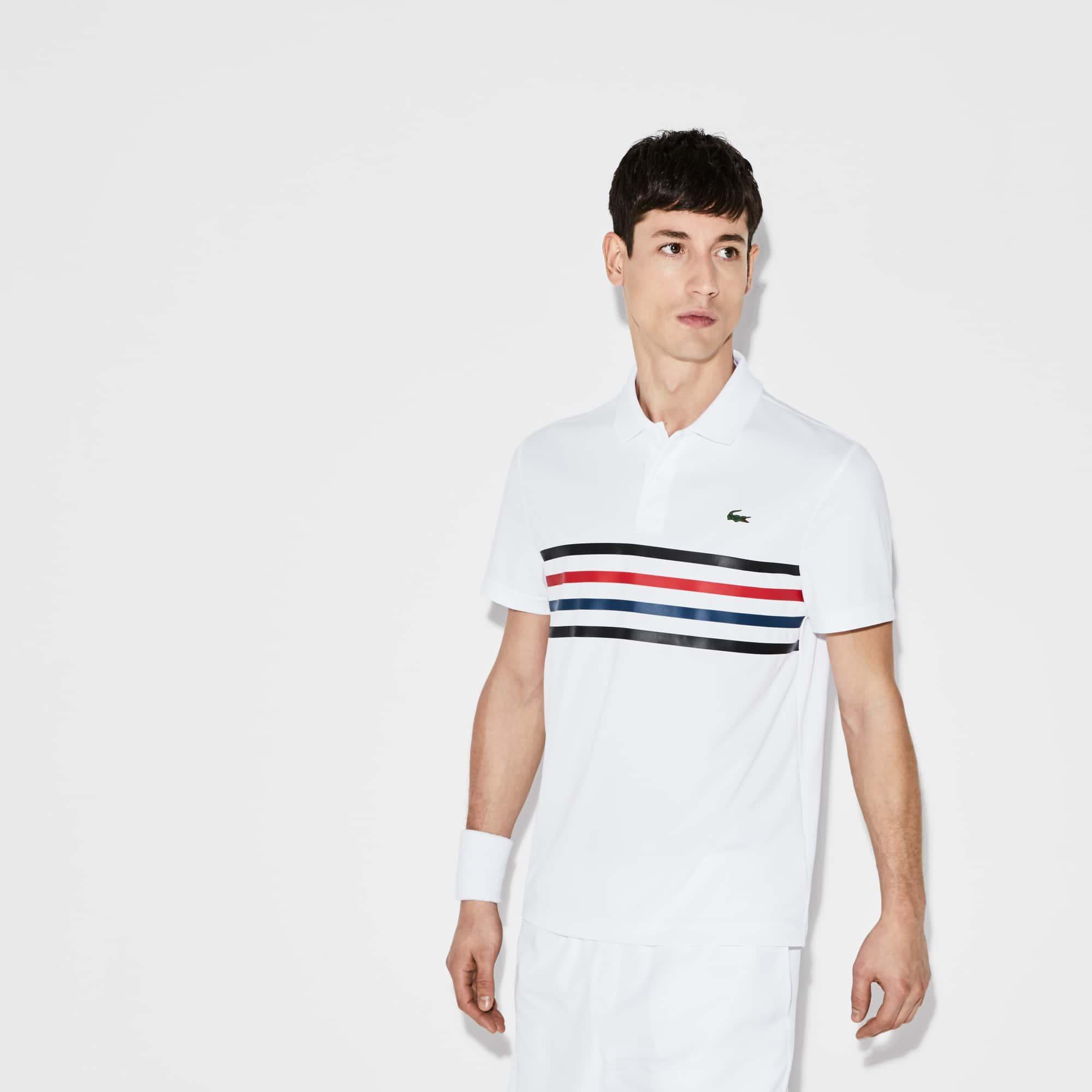 Polo Tennis Lacoste SPORT em piqué técnico com faixas coloridas