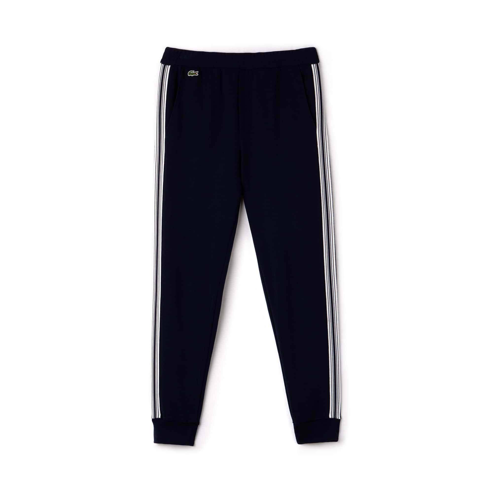Calças de jogging urbanas em algodão milano com faixas a contrastar