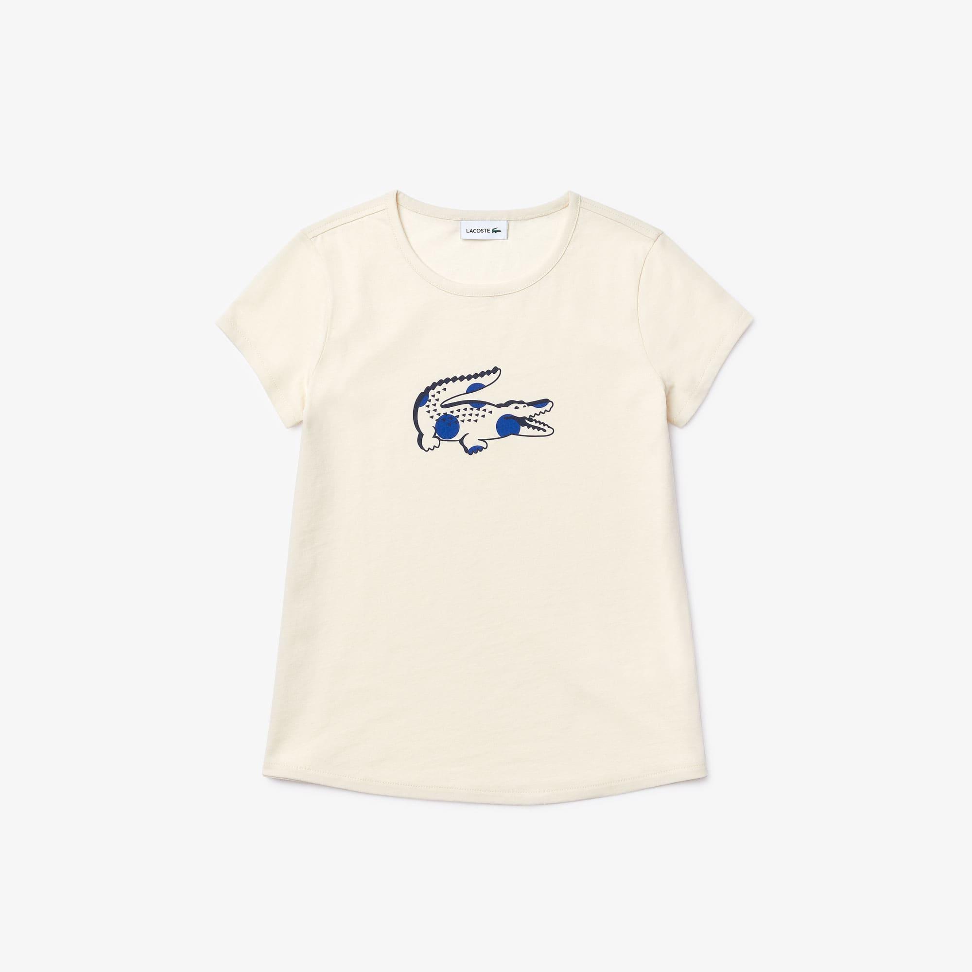 قميص تي-شيرت قطني مطبوع بفتحة رقبة مستديرة للبنات