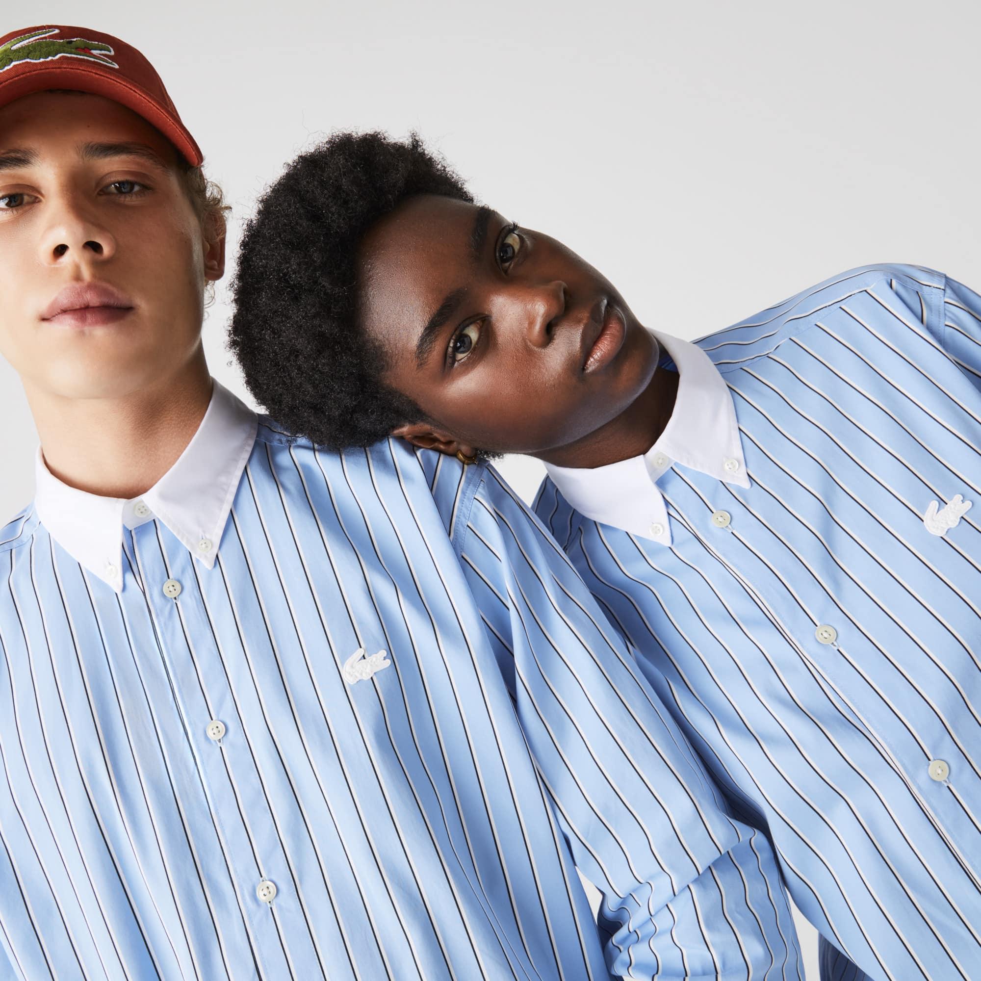 قميص قطن مقلم مجموعة Lacoste LIVE للجنسين