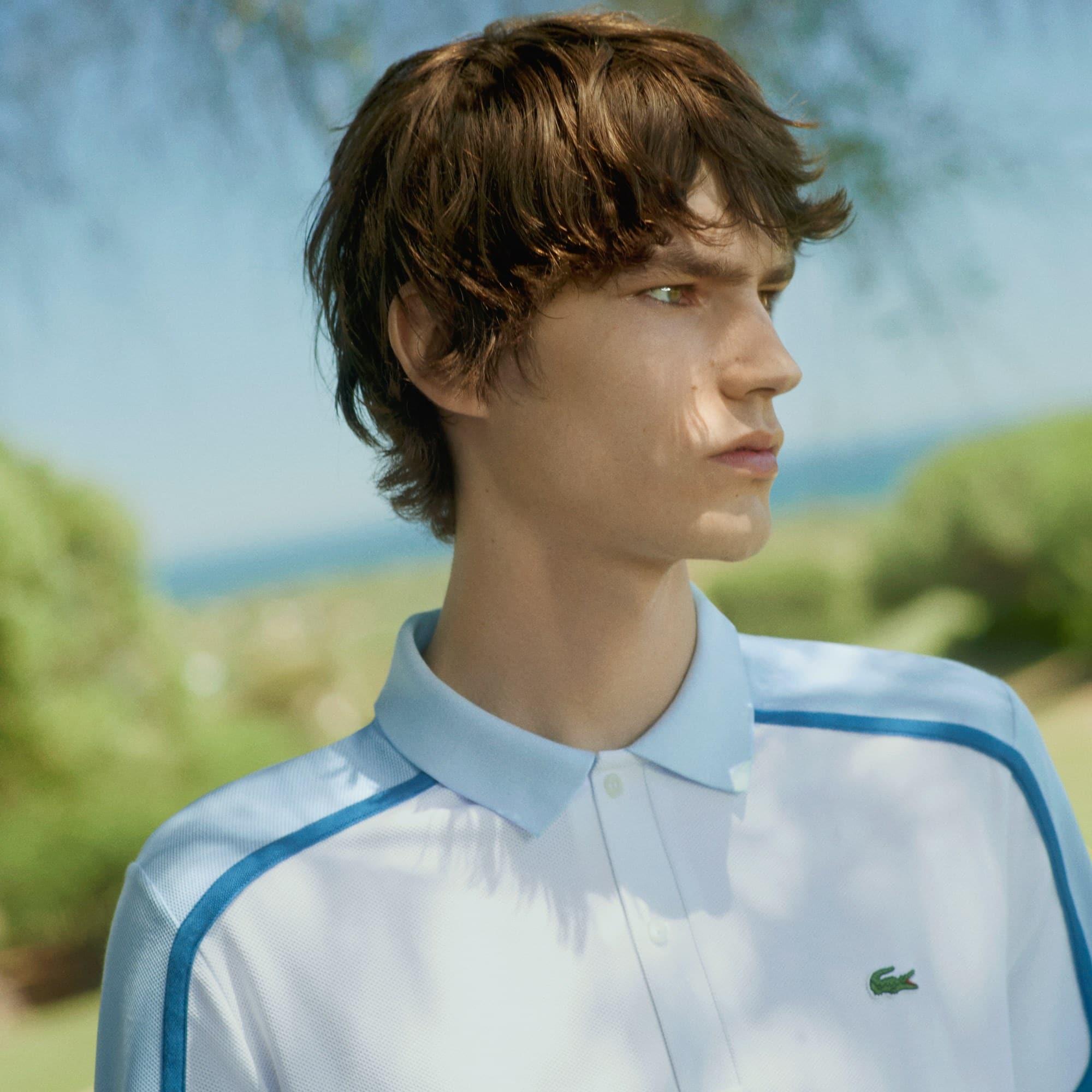 c3351532c قميص بولو رجالي من مجموعة صُنع في فرنسا بمقاس ضيق وألوان متصادمة في ...