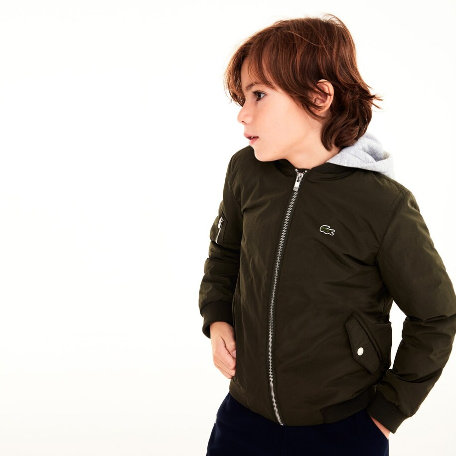 Boys' Contrast Fleece Hooded Nylon Bomber