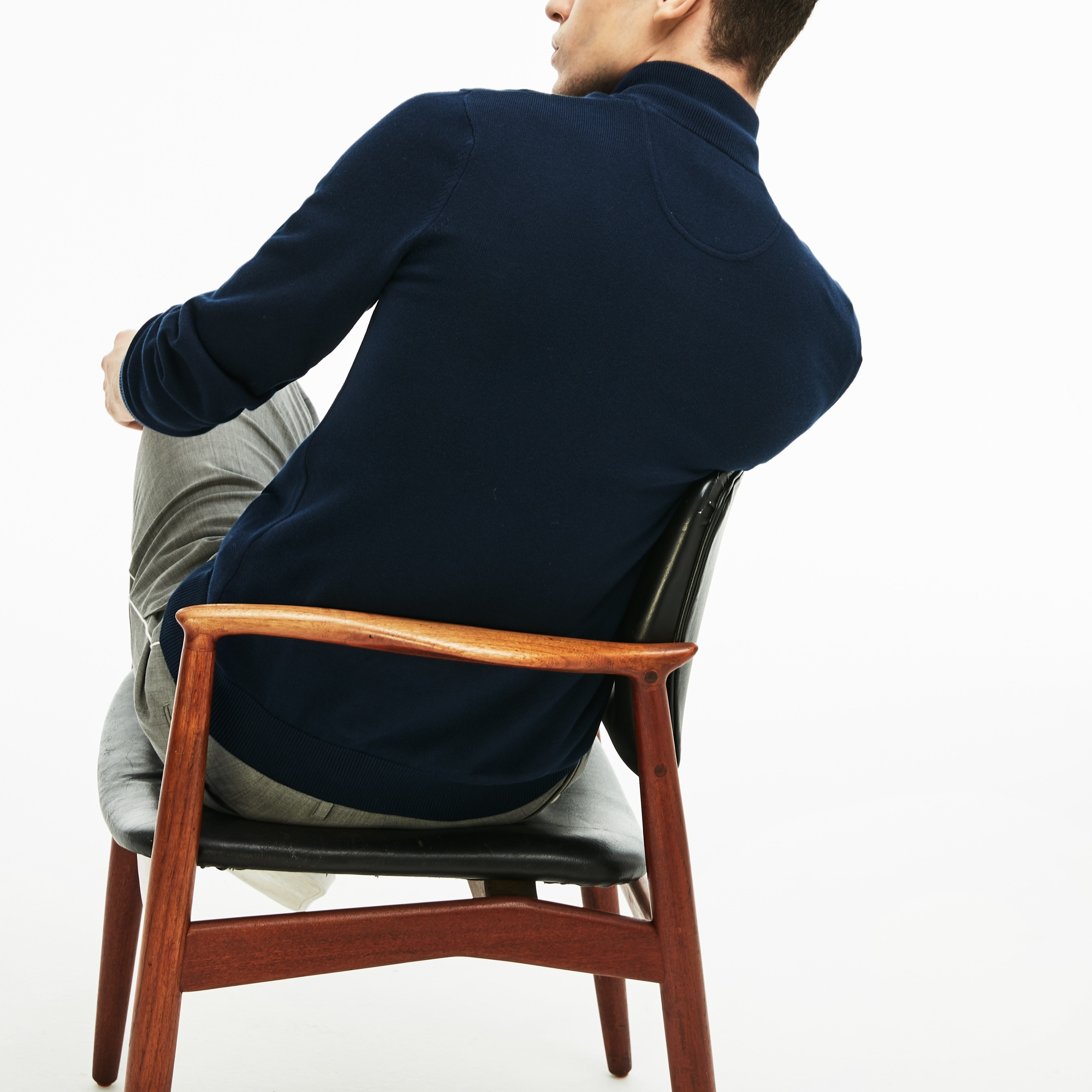 Men's Zip Stand-Up Neck Cotton Sweater