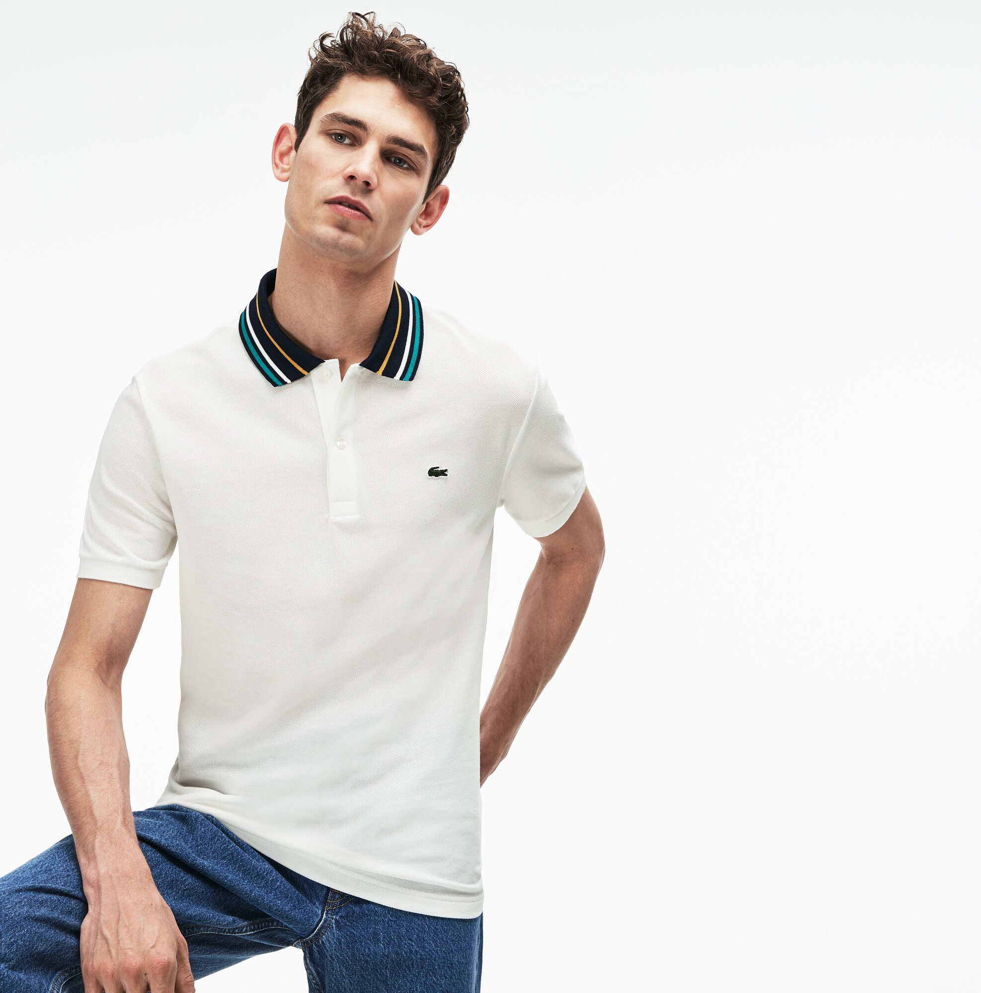 60fd0b82d77 Men s Lacoste Slim Fit Striped Contrast Collar Petit Piqué Polo ...