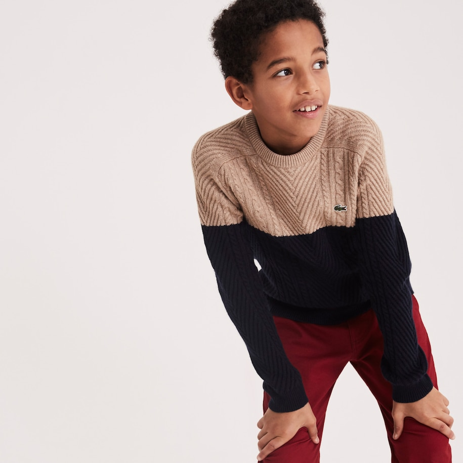 Boys' Crew Neck Cable Knit Colourblock Cotton Blend Sweater