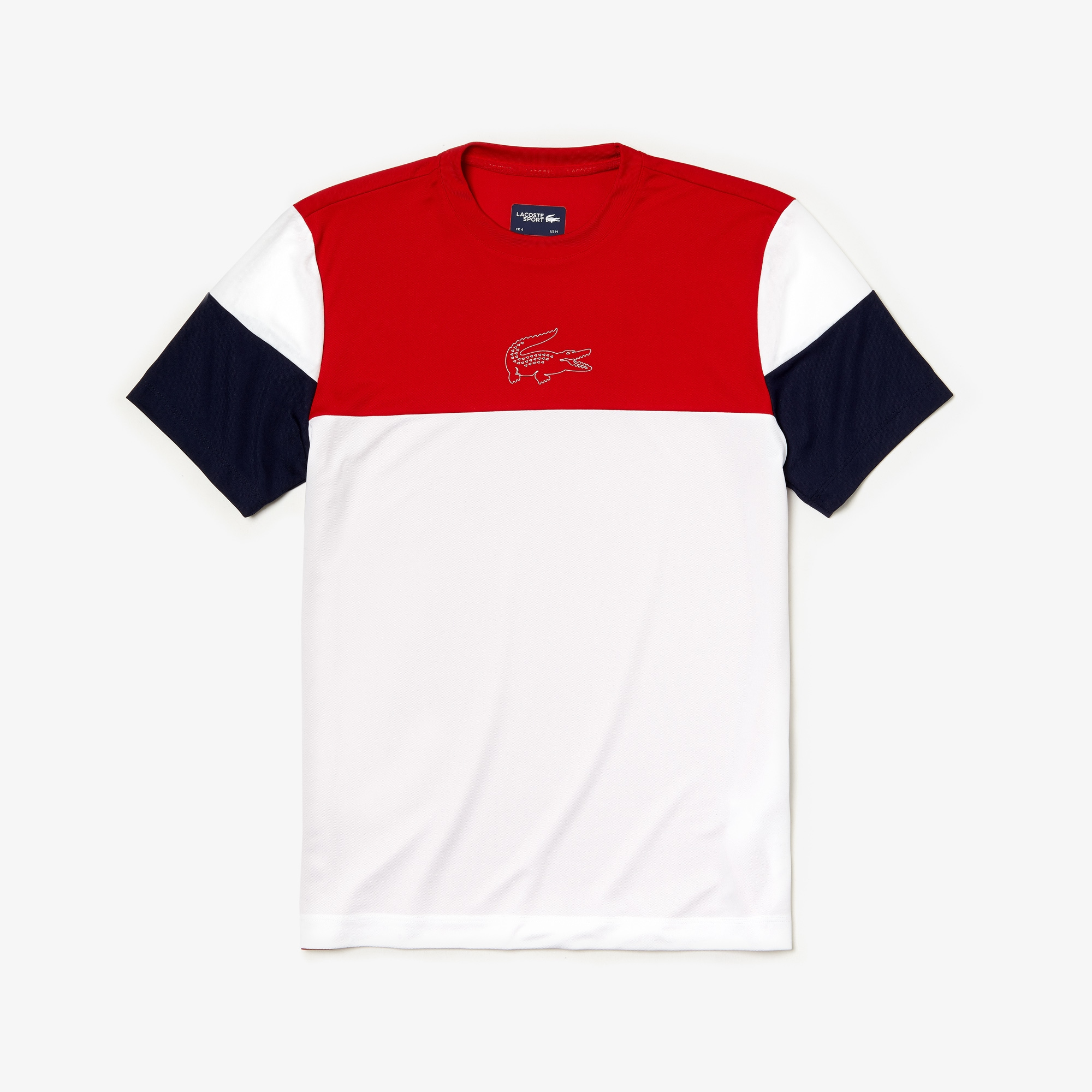 Men's Lacoste SPORT Crew Neck Colourblock Tech Piqué Tennis T-shirt