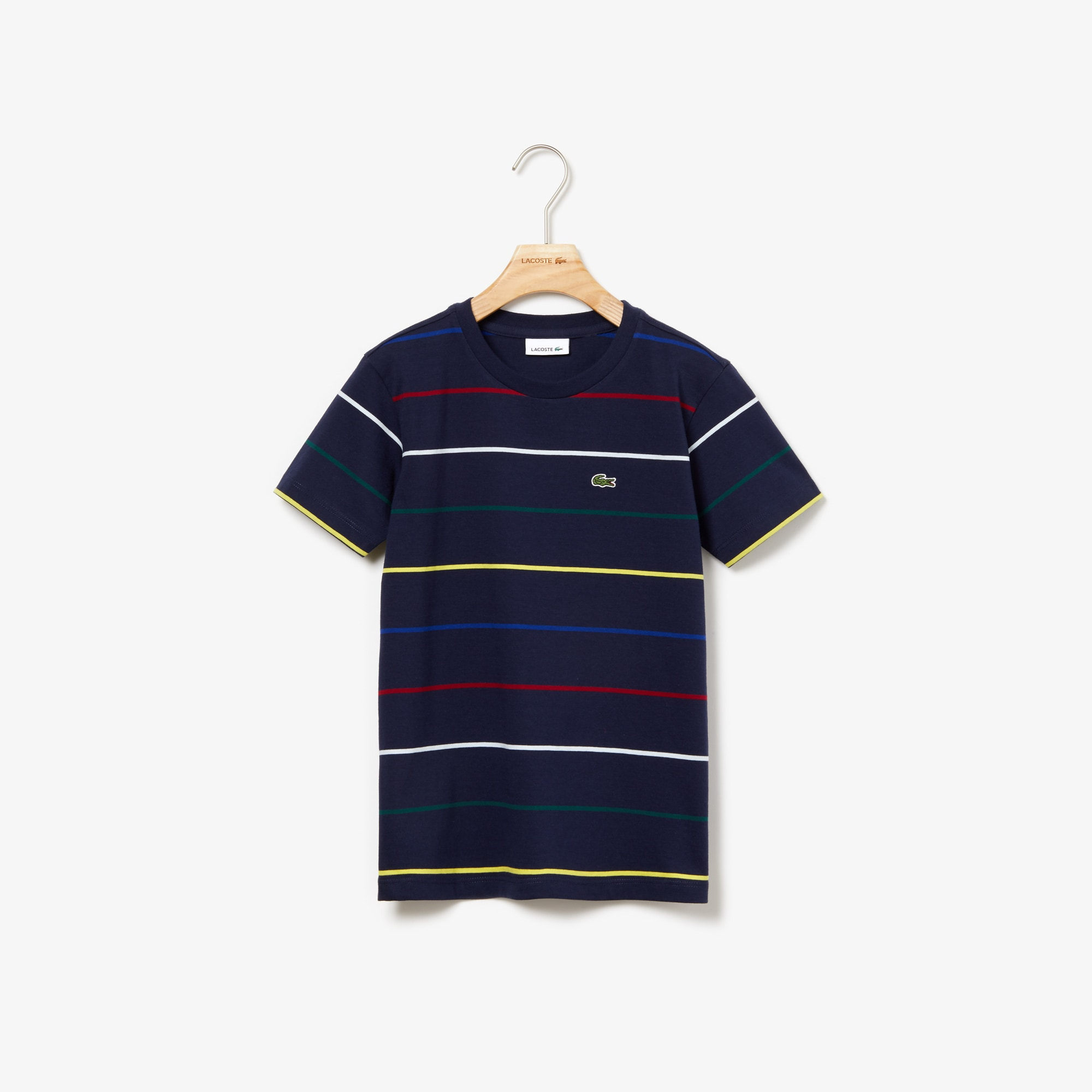 Boys' Crew Neck Coloured Pinstriped Cotton T-shirt