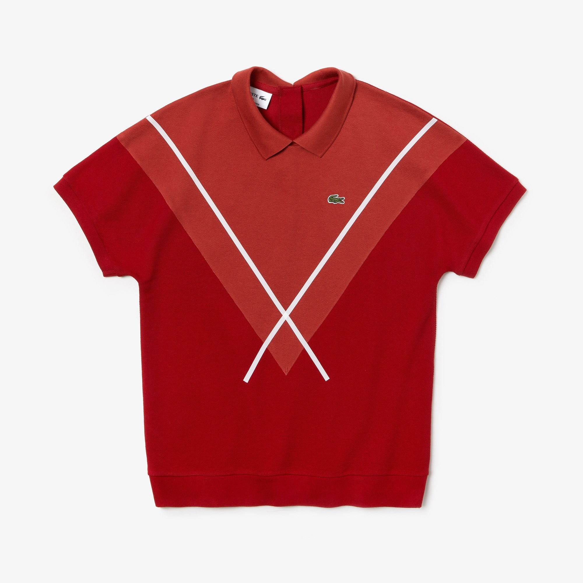 best sneakers new arrivals available Women's Lacoste Made In France Jacquard Patterned Cotton Piqué Polo Shirt