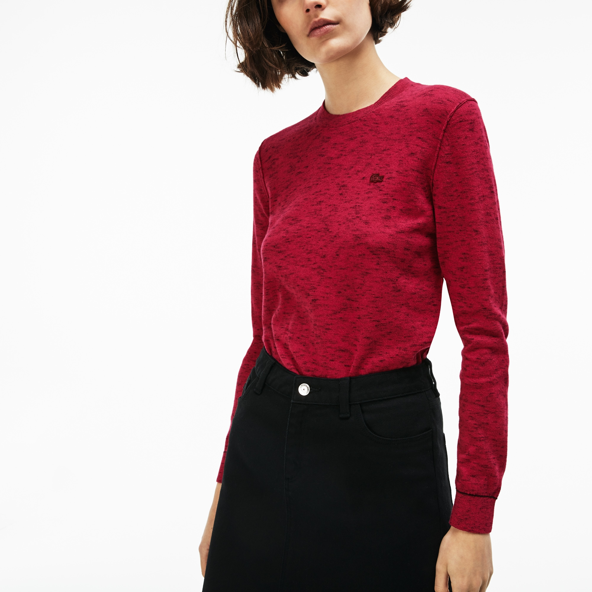 a7c1a57f9b Women's Lacoste LIVE Crew Neck Cotton And Cashmere Jersey Sweater