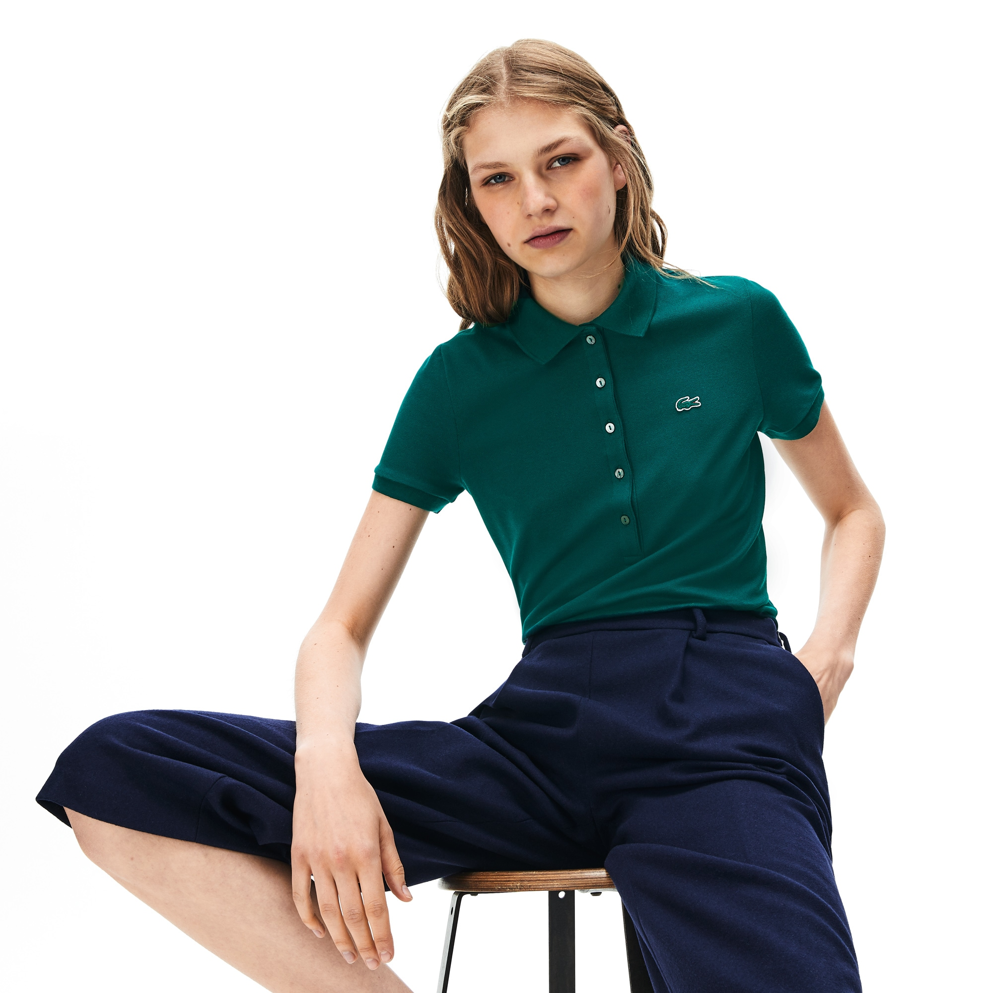 Lacoste Womens Womens Slim Fit Stretch Mini Pique Polo Polo Shirt