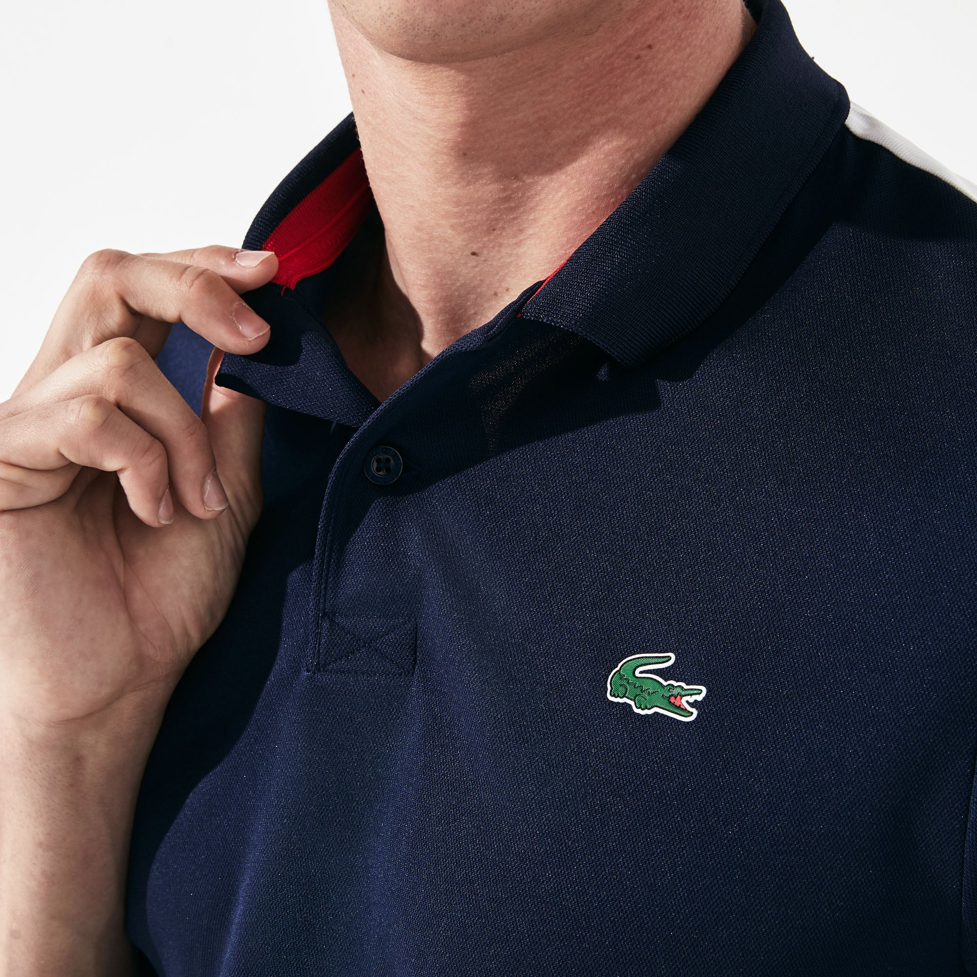 Men's Lacoste SPORT Signature Band Breathable Colourblock Piqué Polo Shirt