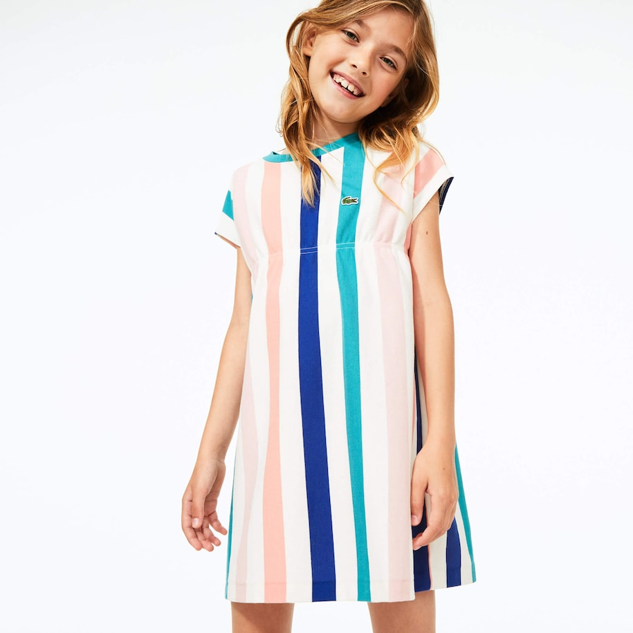 Girls' Striped Print Cotton Piqué Dress