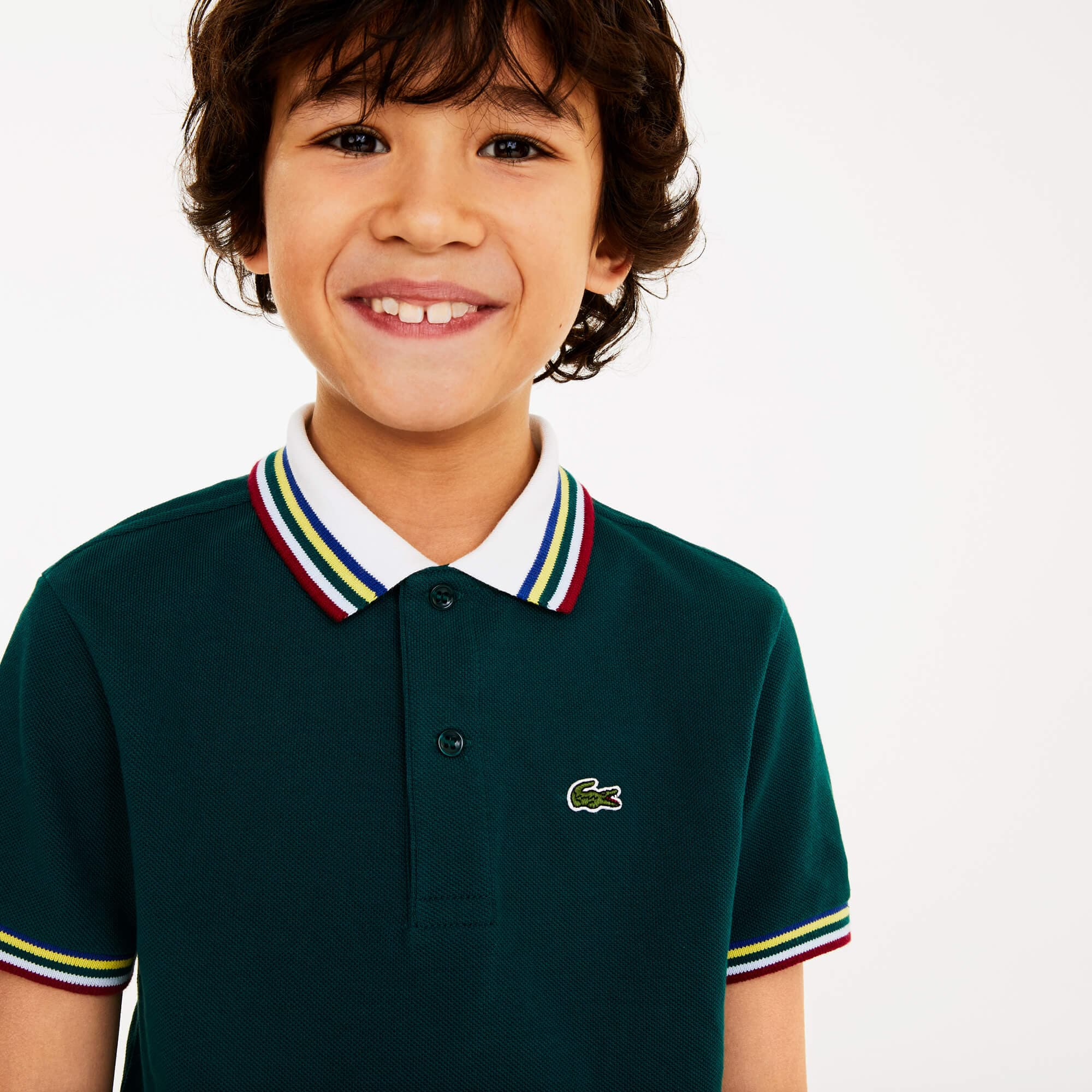 Boys' Lacoste Striped Ribbed Cotton Piqué Polo Shirt