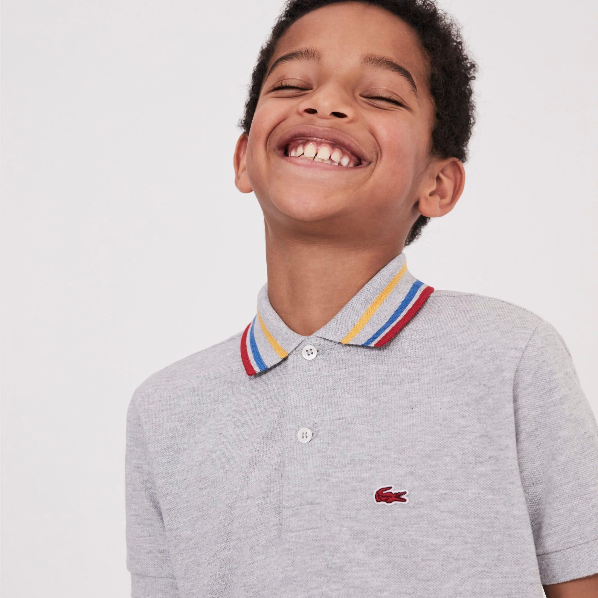 9f9287ec Boys' Lacoste Striped Neck Petit Piqué Polo Shirt