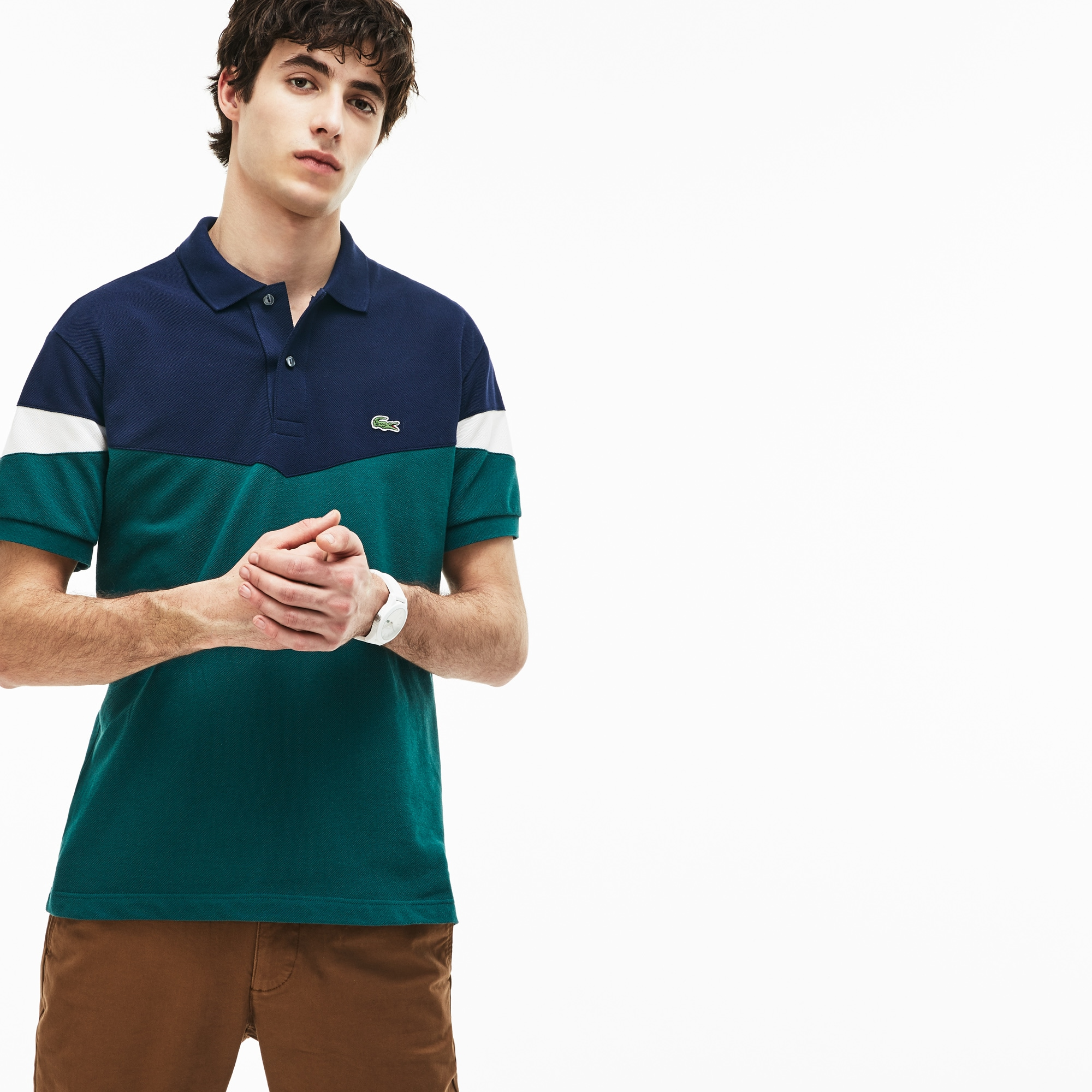 4e367935bb Men's Lacoste Classic Fit Colourblock Cotton Petit Piqué Polo Shirt
