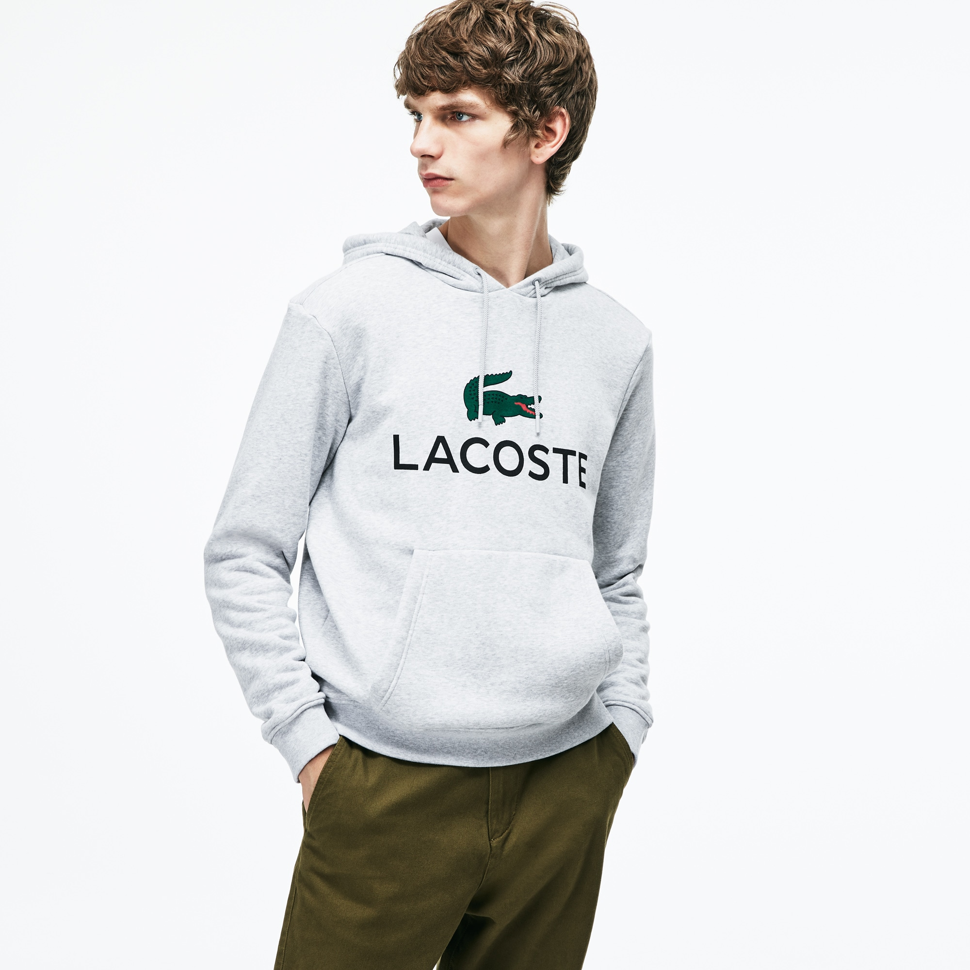 c6765217c071 Men s Hooded Lacoste Lettering Cotton Blend Fleece Sweatshirt