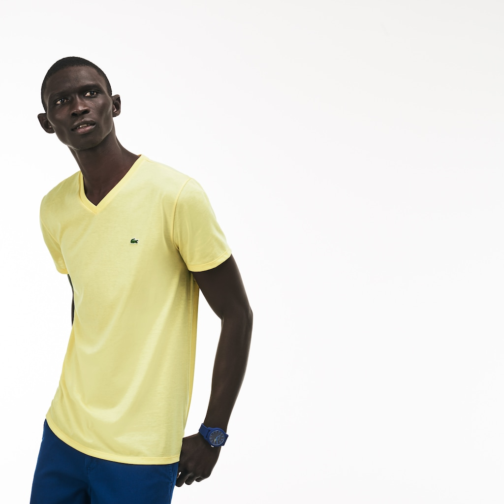 be7da56a Men's V-neck Pima Cotton Jersey T-shirt   LACOSTE