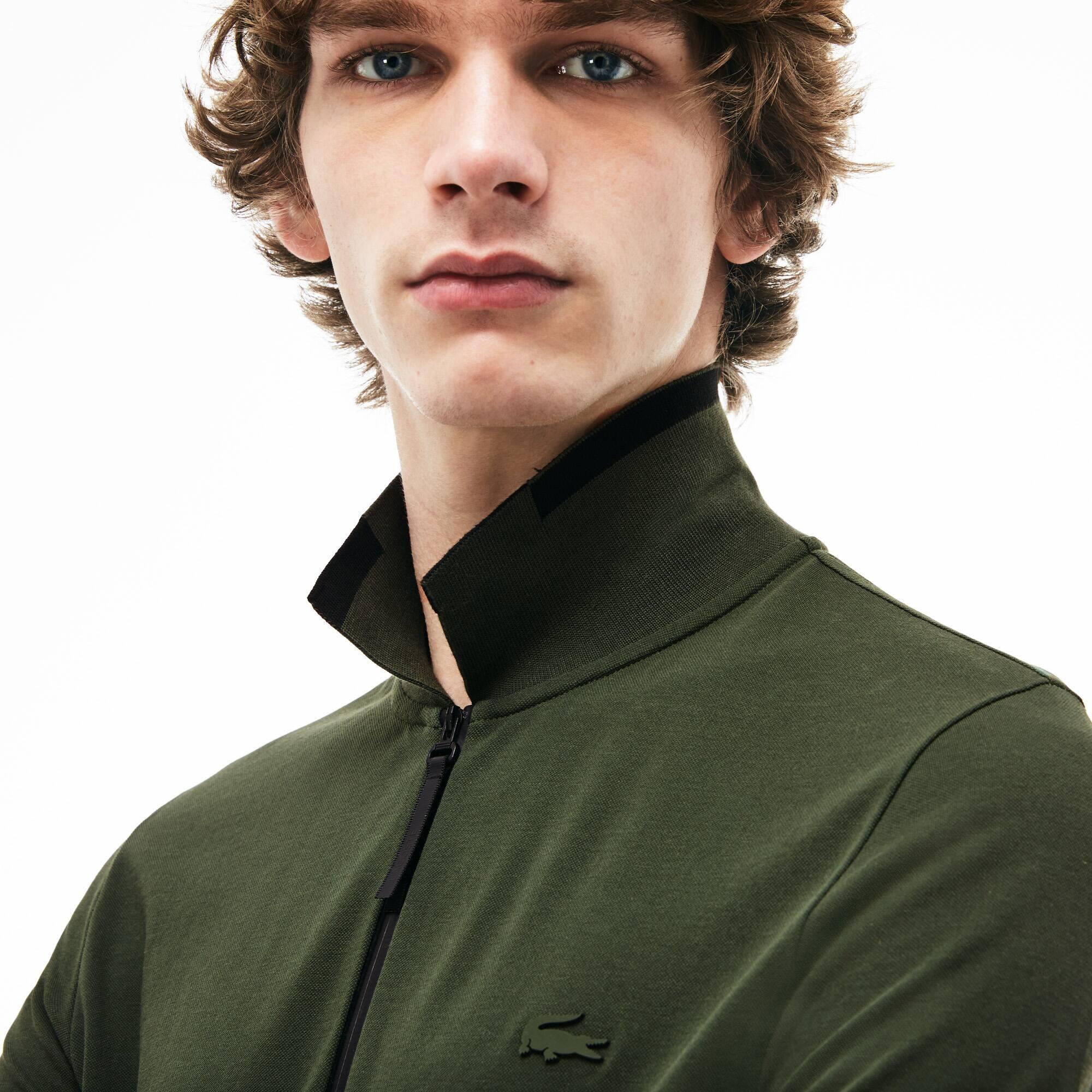 ed4de779d9 Men's Lacoste Motion Slim Fit Zip Collar Cotton Piqué Polo Shirt