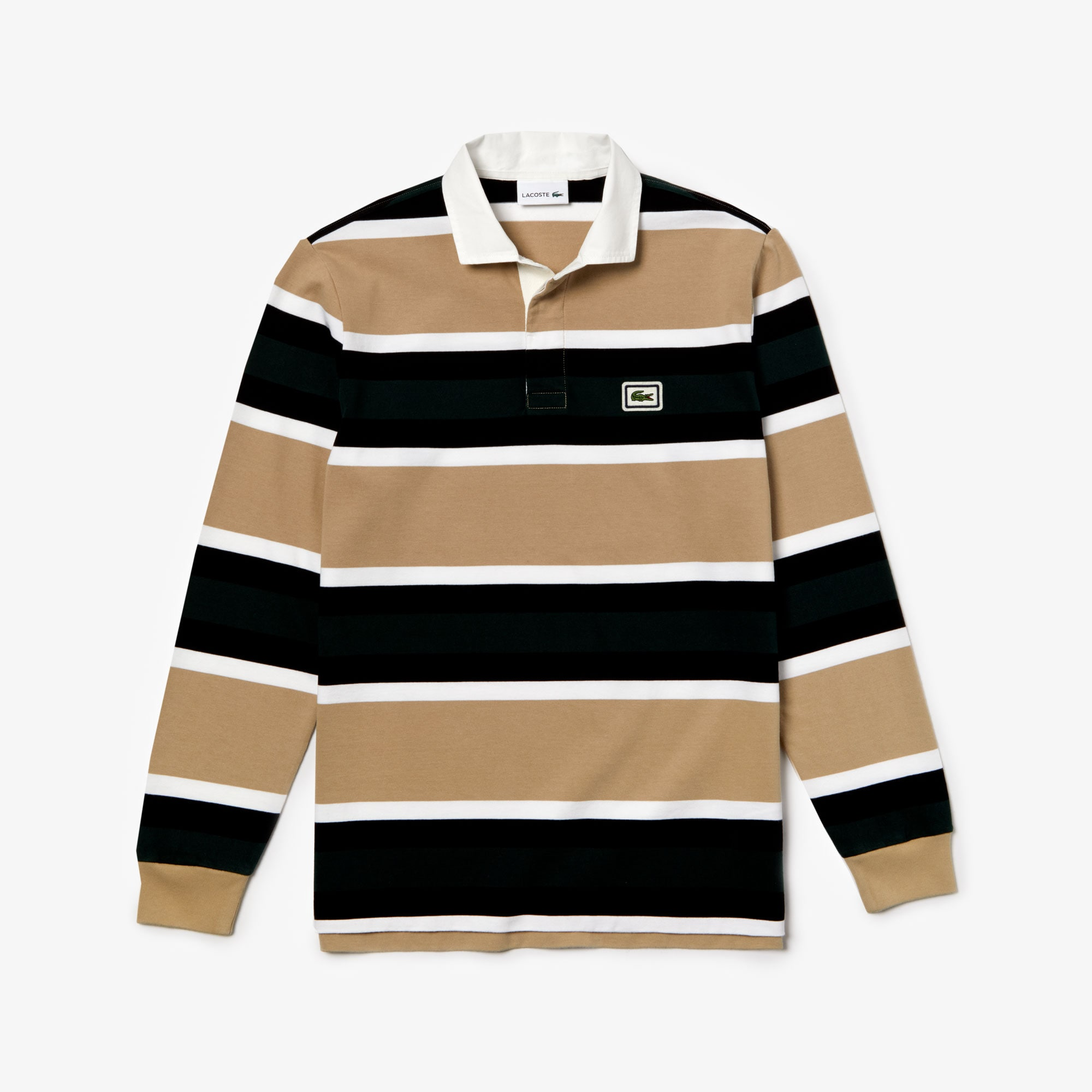 Lacoste Men/'s New Striped Thick Cotton Jersey Rugby Polo Shirt Beige