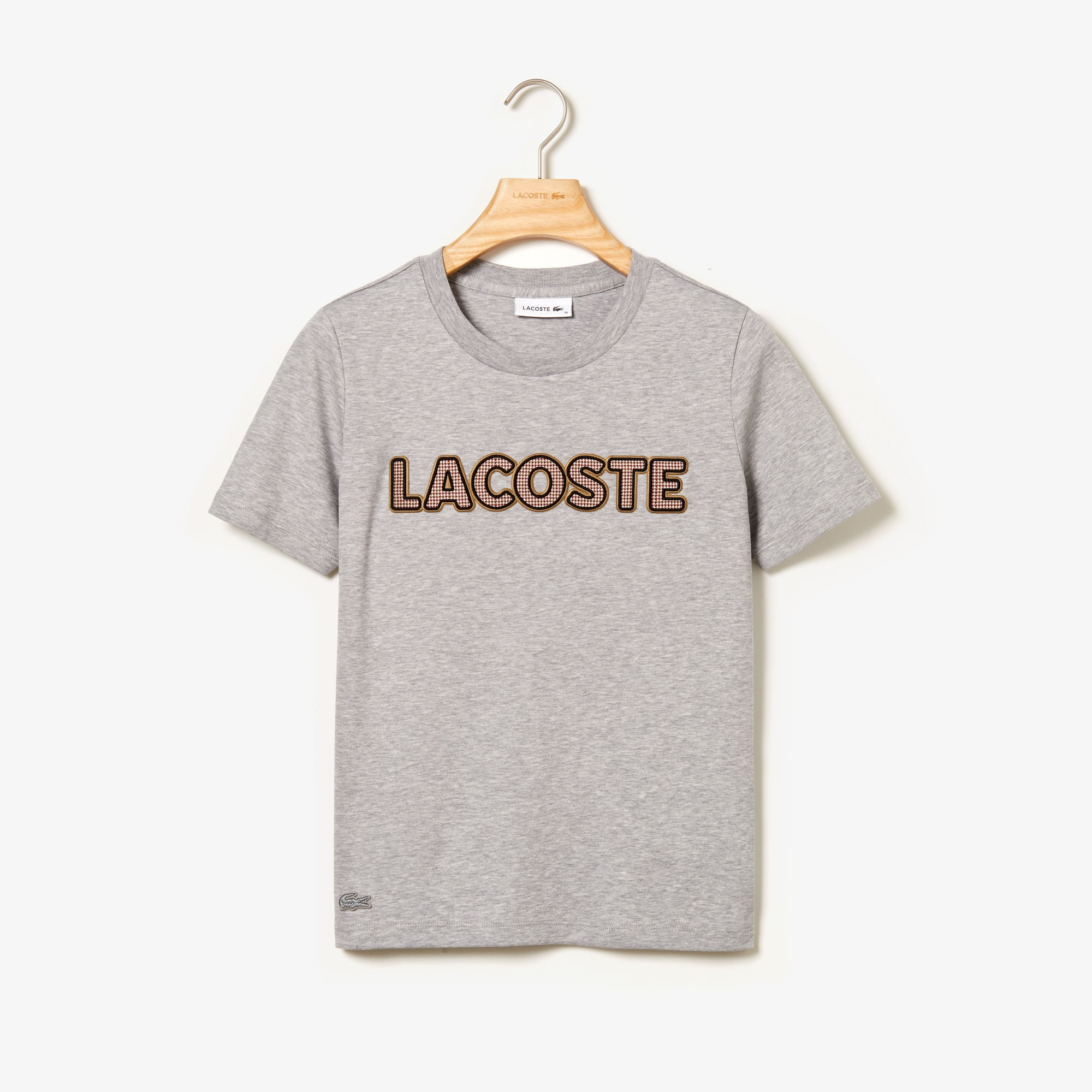 Women's Crew Neck Check Lacoste Badge Lightweight Cotton T-shirt