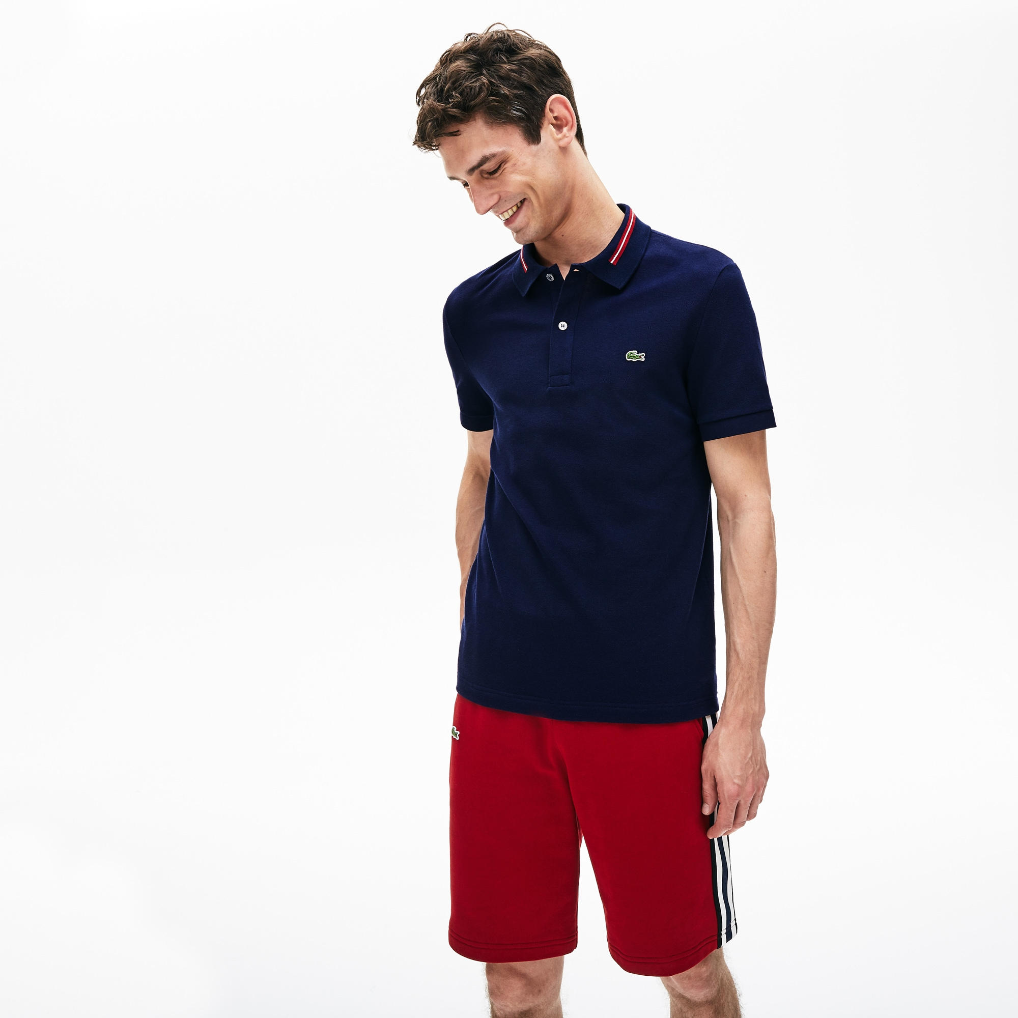 Men's Lacoste Slim Fit Striped Accents Cotton Piqué Polo Shirt
