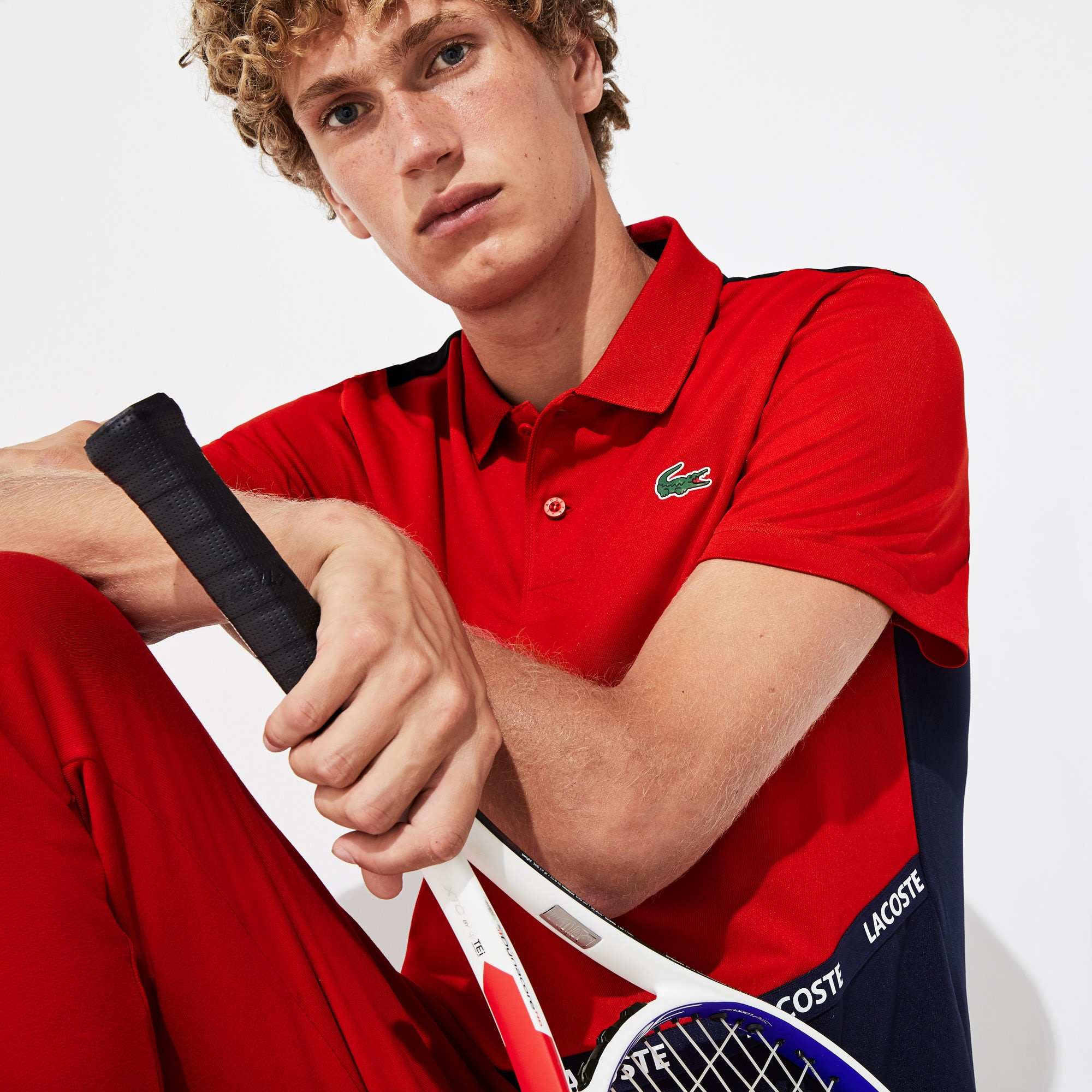 Men's Lacoste SPORT Signature Band Breathable Colourblock Piqué Polo Shirt