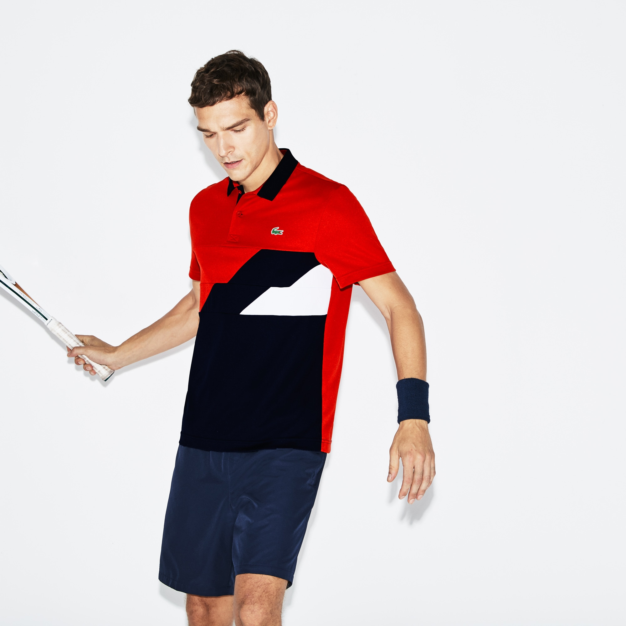 3c44341f80 Men's Lacoste SPORT Colourblock Bands Technical Piqué Tennis Polo ...