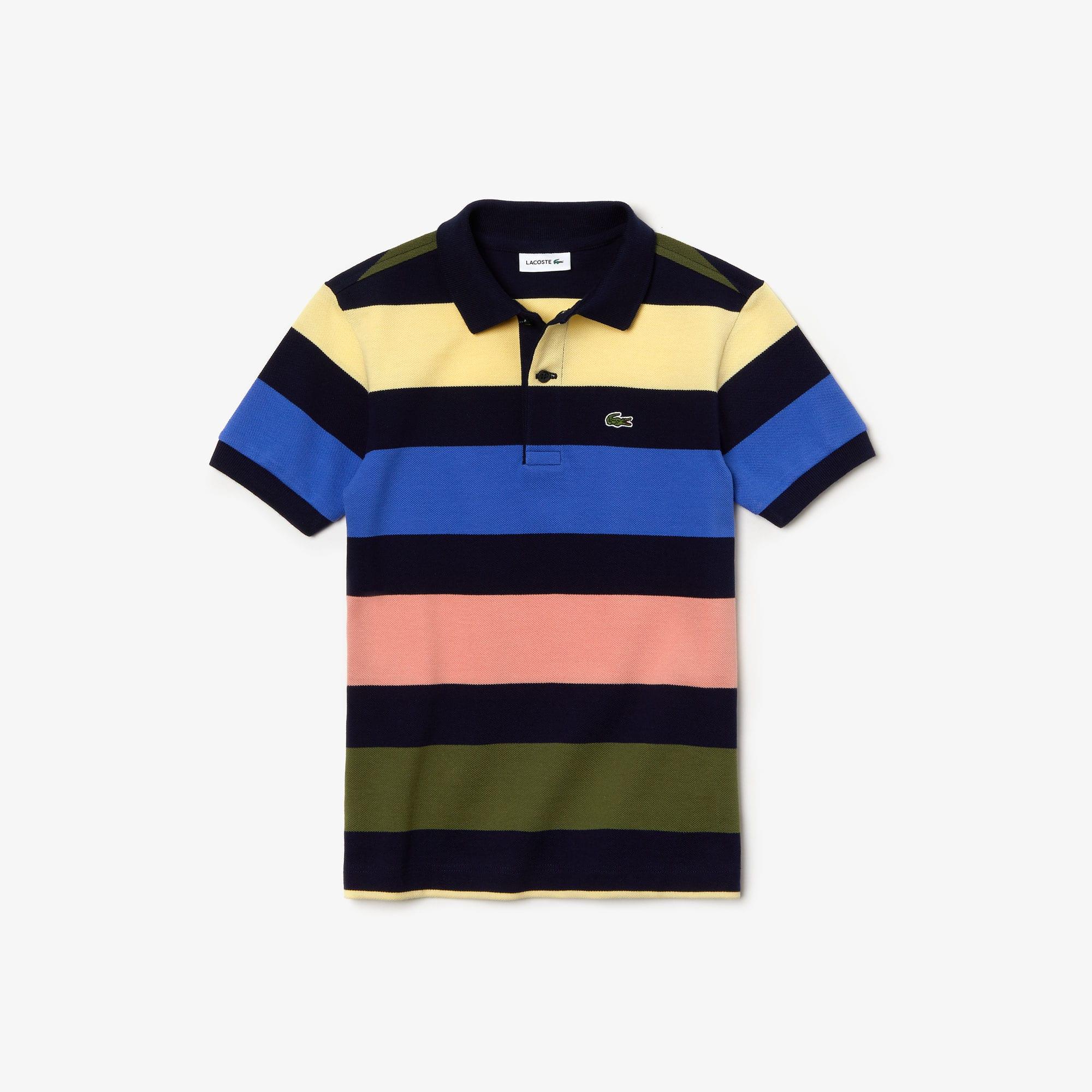 2eb677a7 Boys' Lacoste Colored Stripes Piqué Polo Shirt