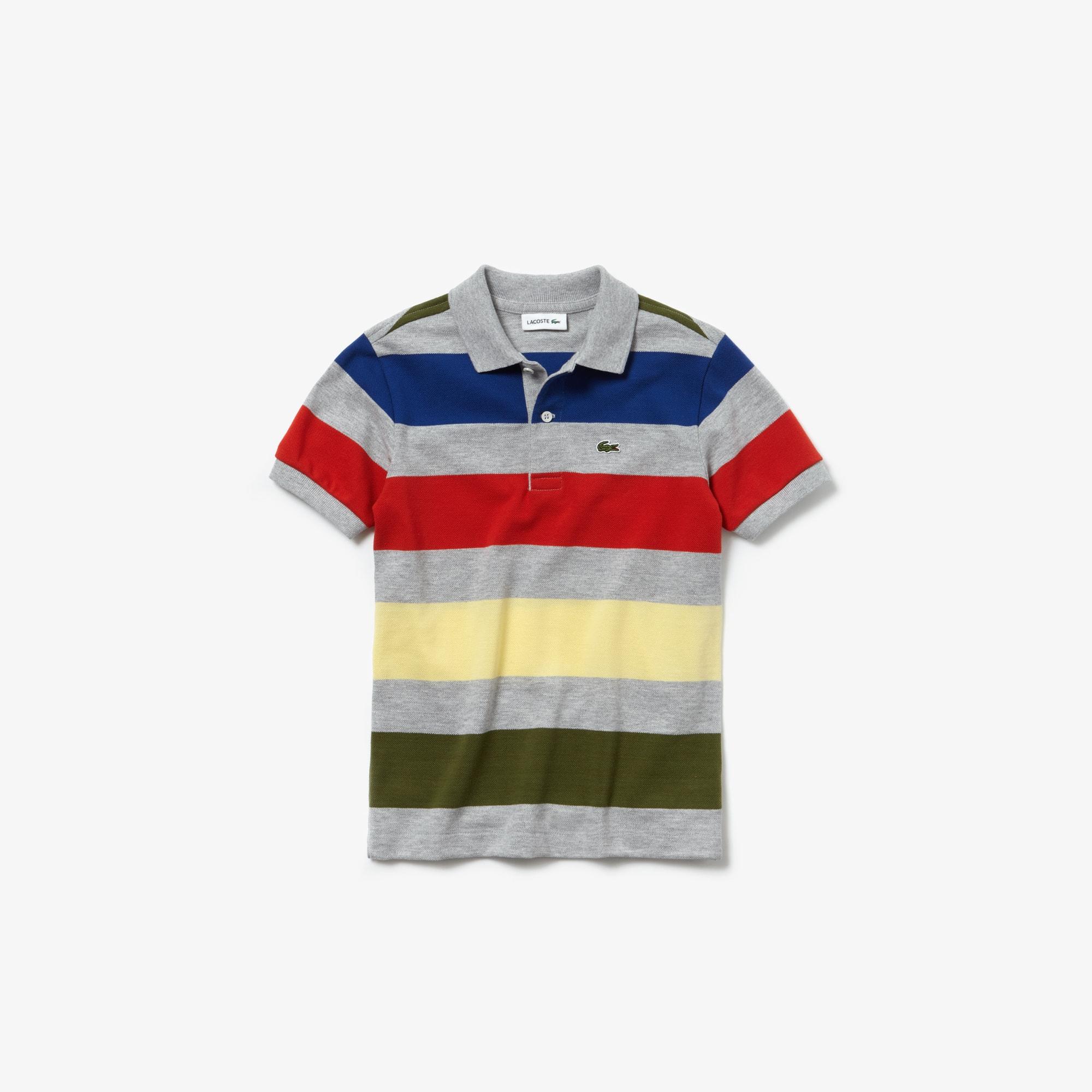 b2c09d29 Boys' Lacoste Colored Stripes Piqué Polo Shirt | LACOSTE