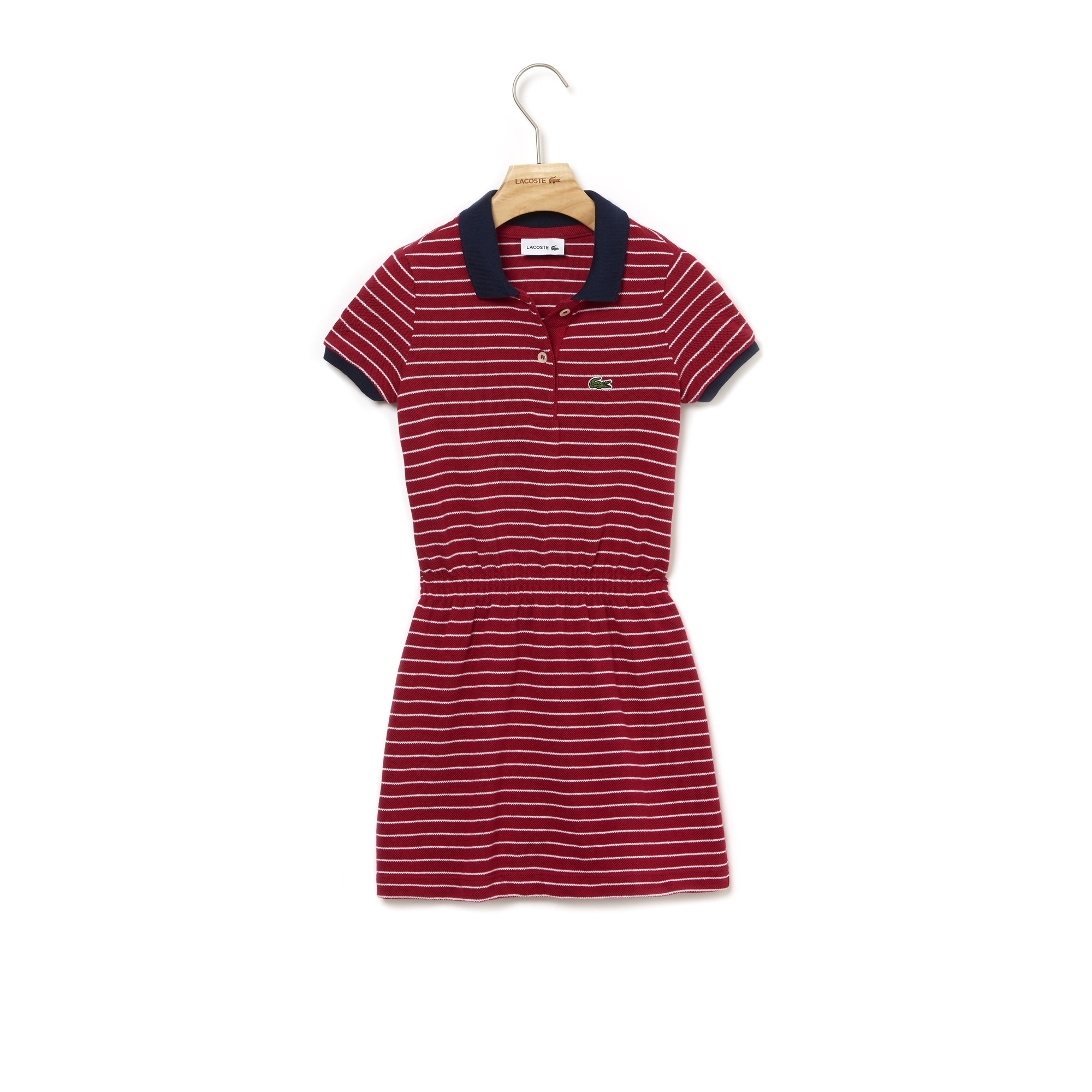 510ba73f Girls' Fitted Striped Cotton Piqué Polo Dress | LACOSTE
