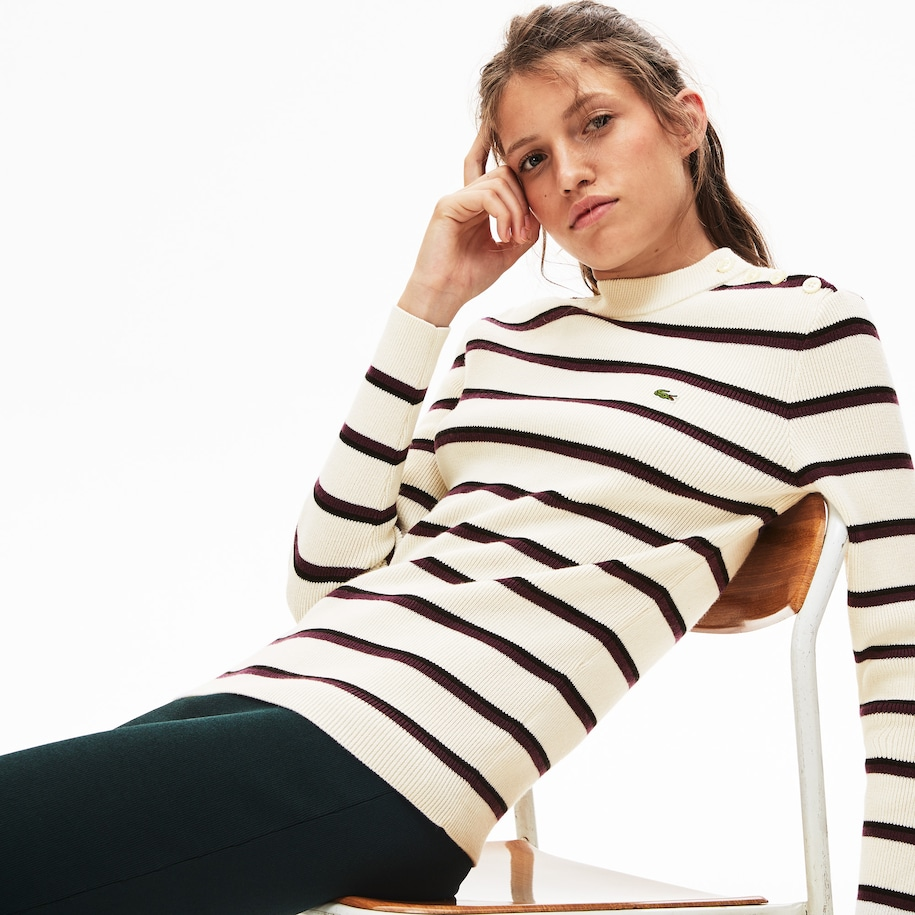 Women's Lacoste LIVE Crew Neck Striped Wool And Cotton Sweater