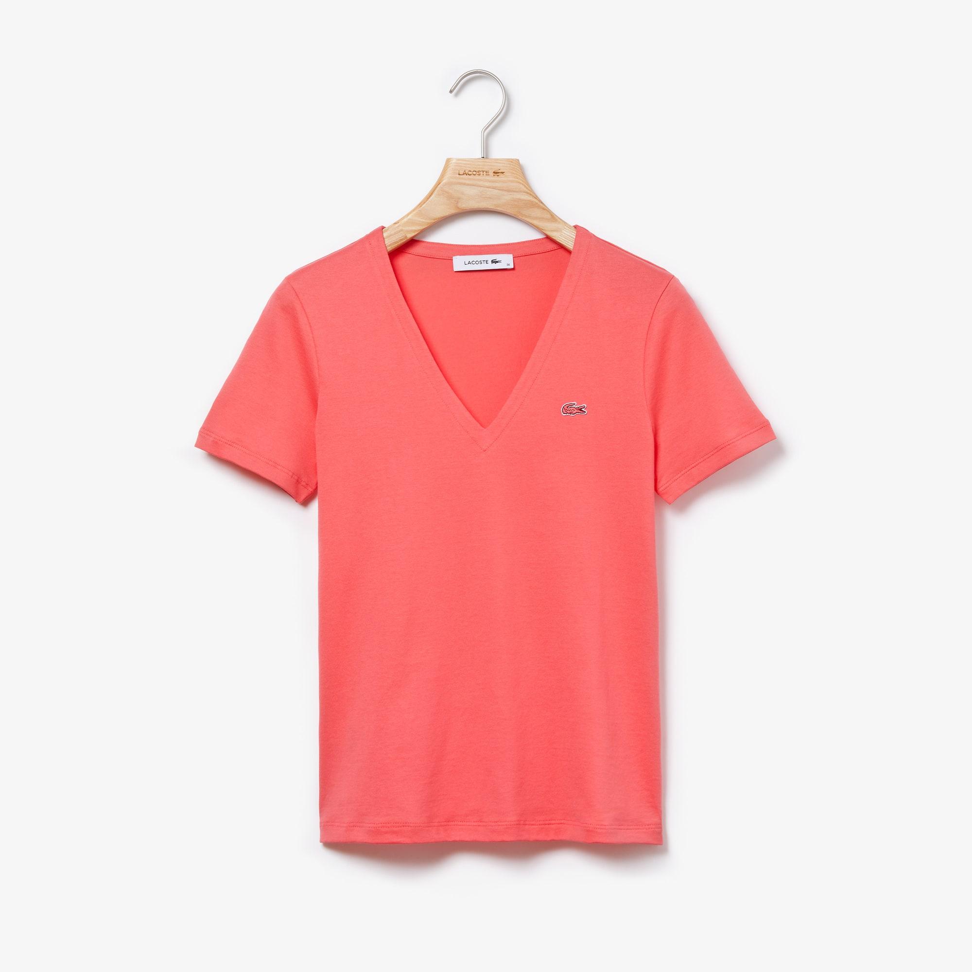 21c6d3011580 Women's Slim Fit V-Neck Cotton Jersey T-shirt | LACOSTE