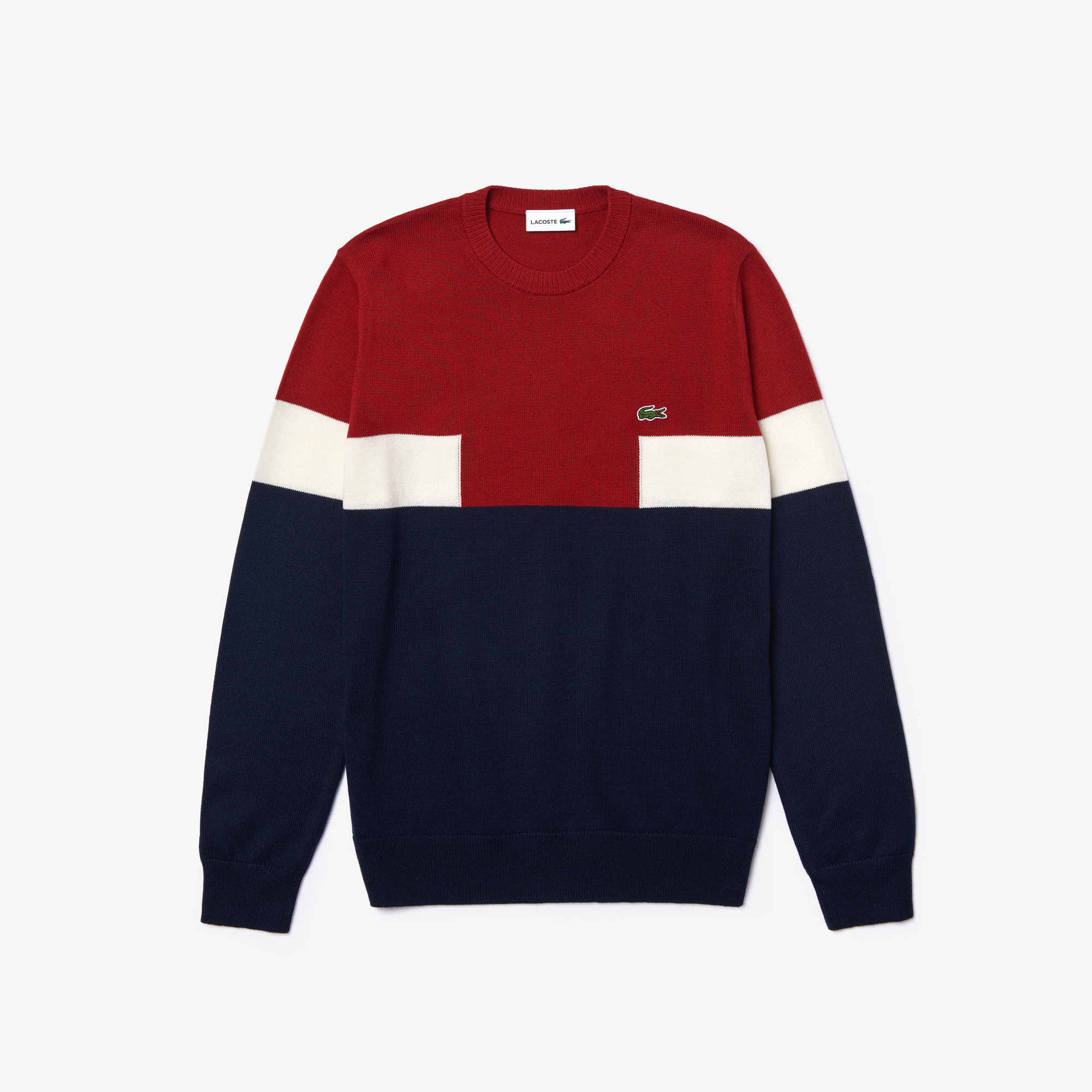 Men's Crew Neck Colourblock Wool And Cotton Blend Sweater
