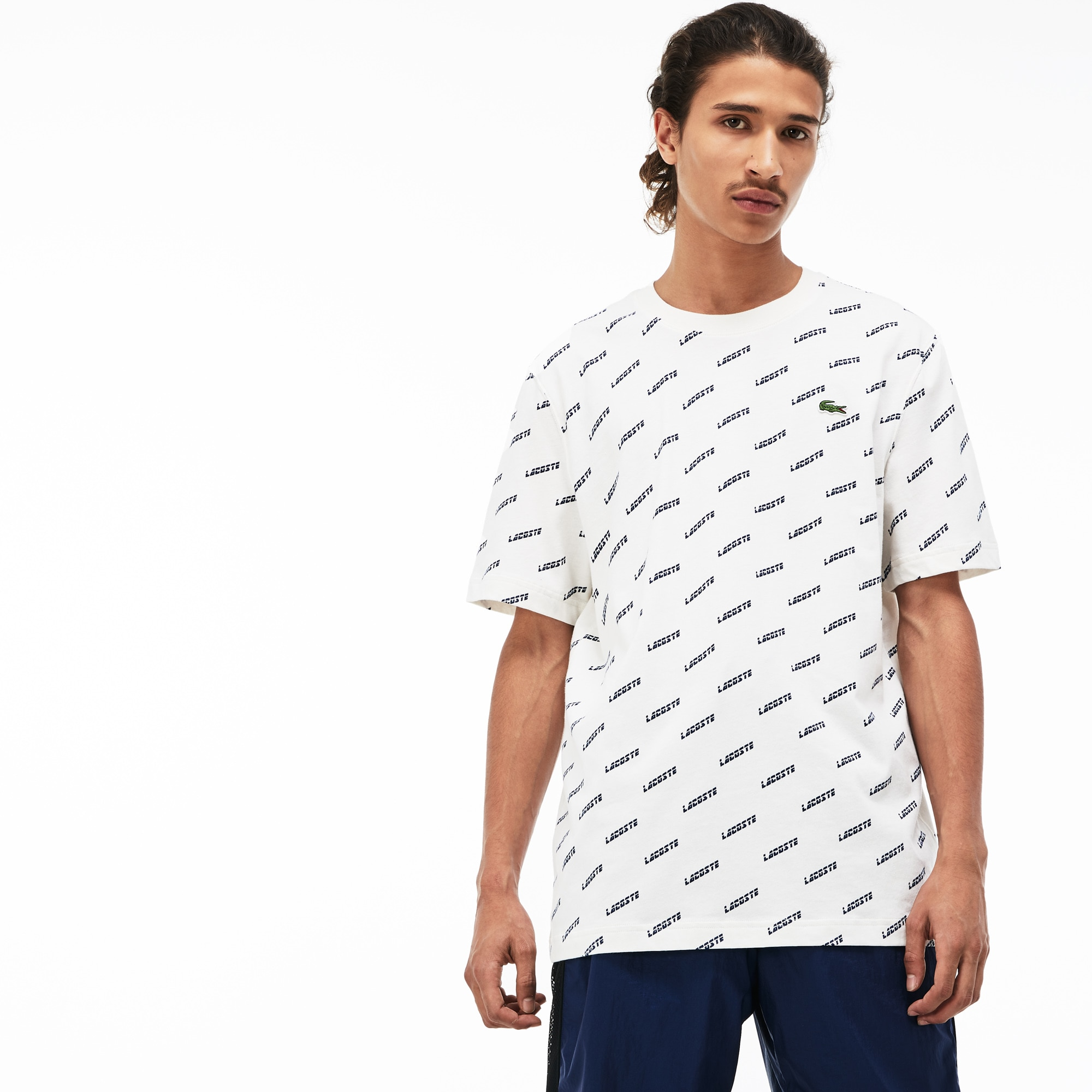 Men's Lacoste LIVE Crew Neck Print Cotton T-shirt