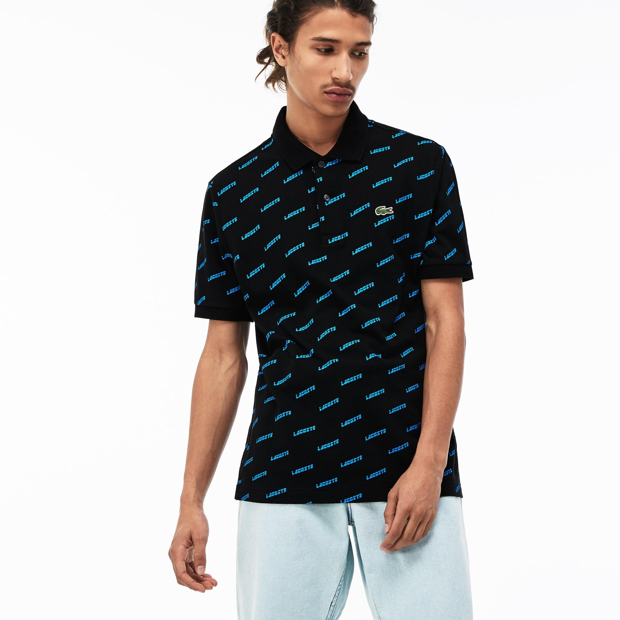 Men's Lacoste LIVE Ultra Slim Fit Lacoste Print Mini Piqué Polo Shirt