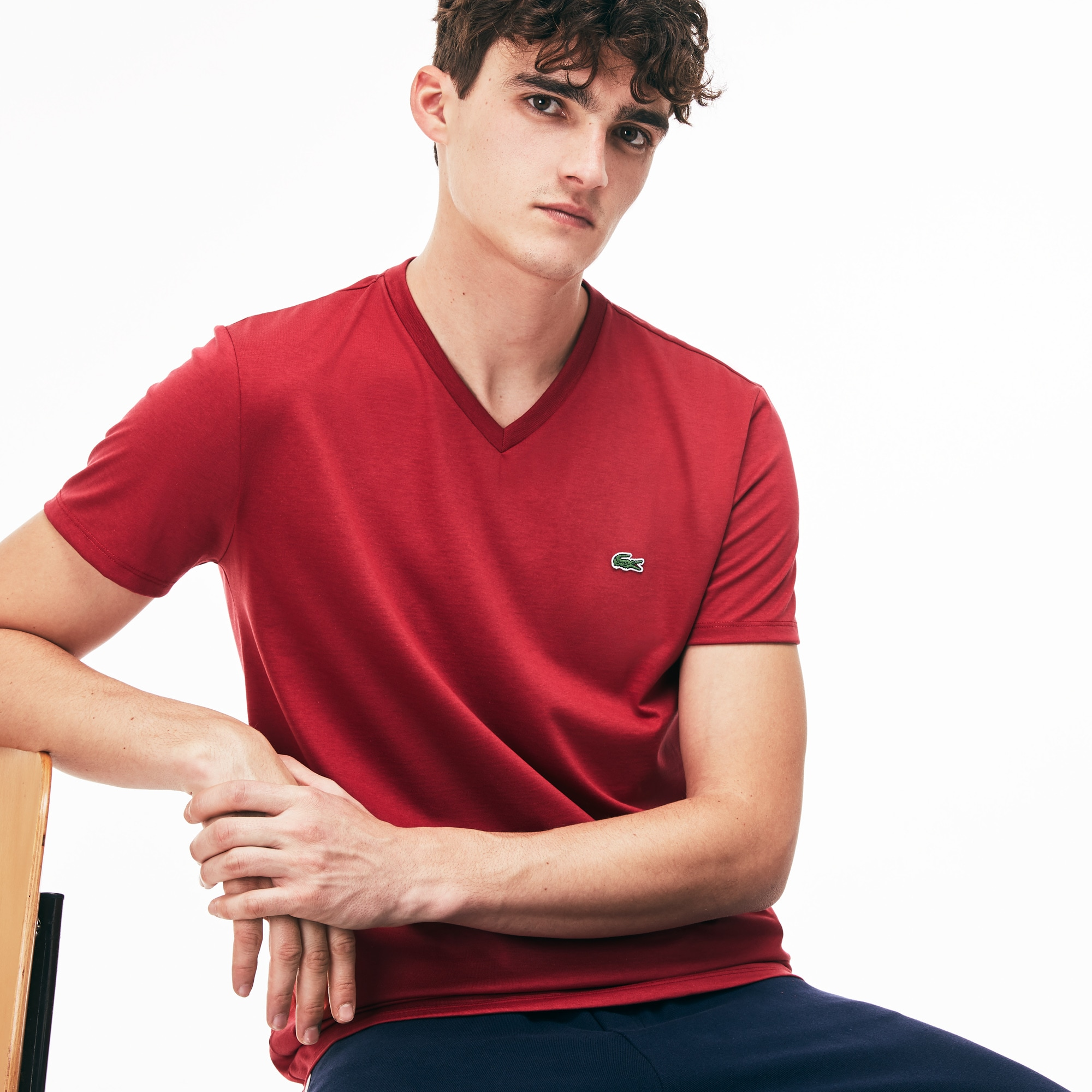 Men s V-neck Pima Cotton Jersey T-shirt