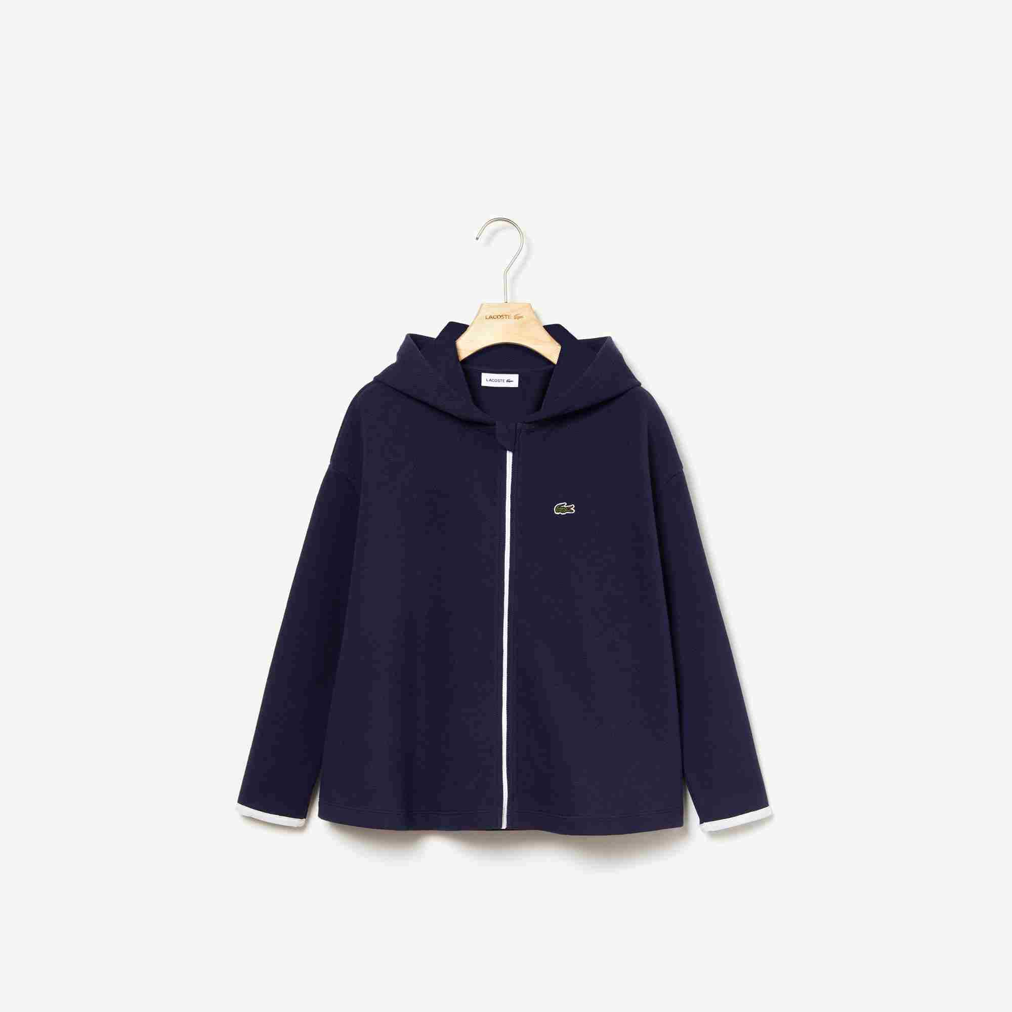 Girls' Hooded Piqué And Zip Cardigan