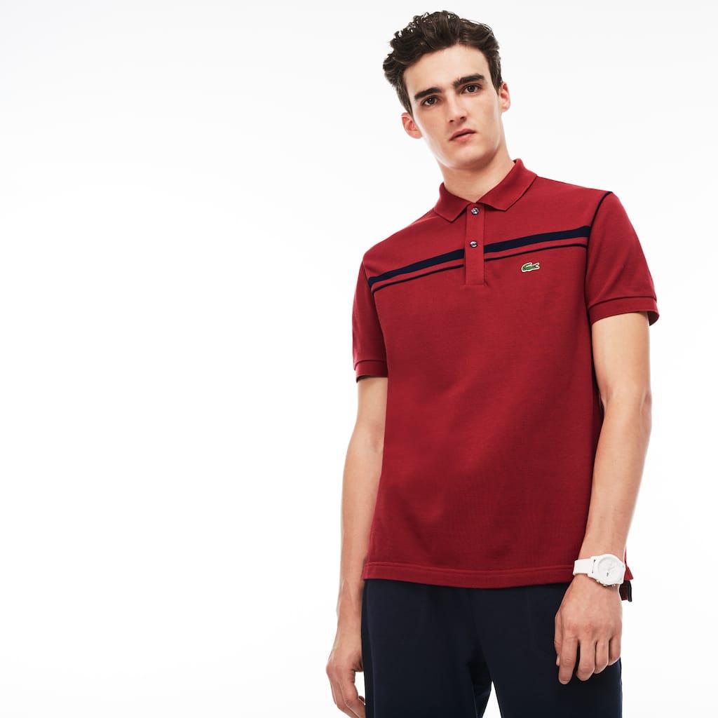 c0880e6d3d410 Men s Lacoste Regular Fit Contrast Bands Piqué Polo Shirt