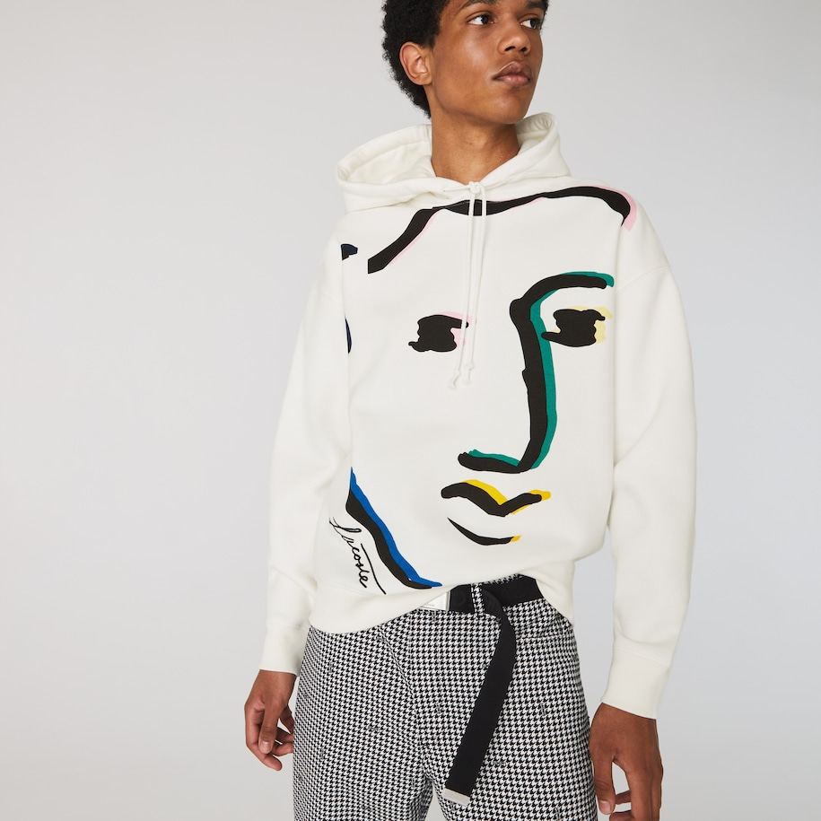 Men's Lacoste LIVE Loose Fit Face Design Fleece Hoodie