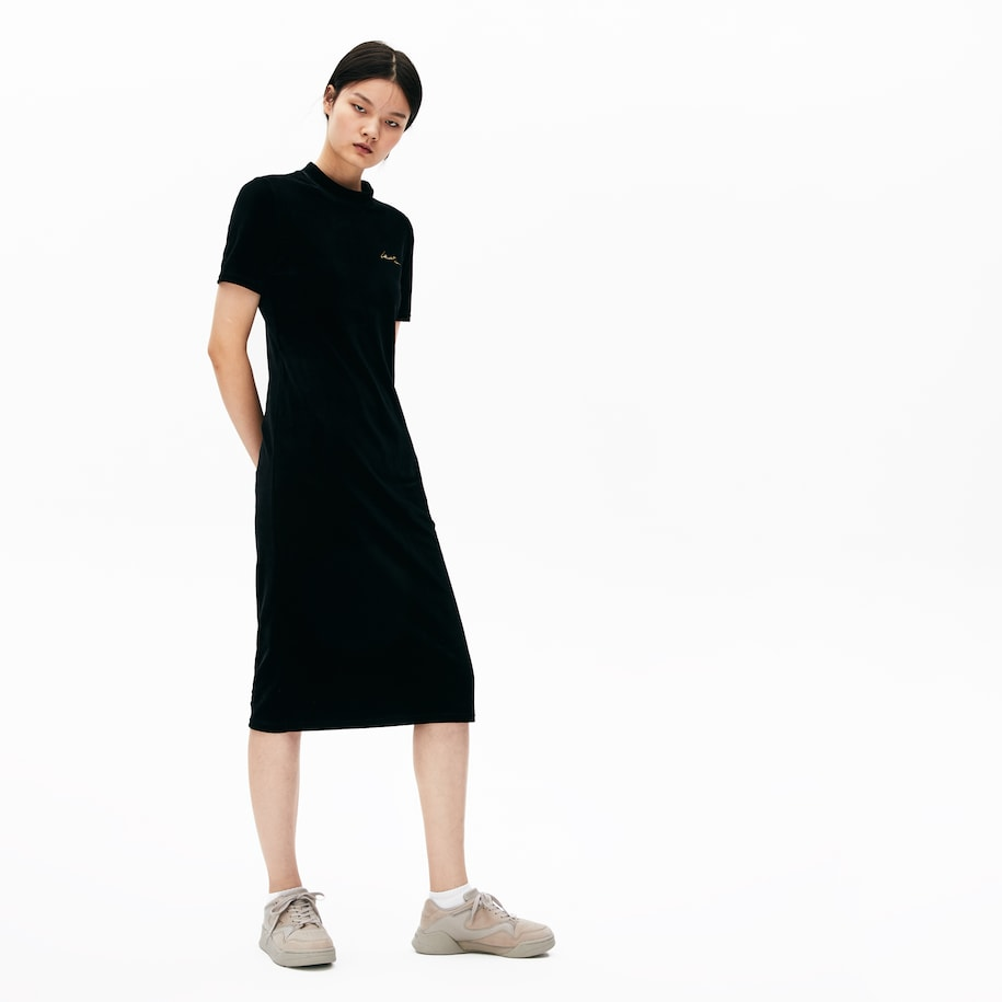 Women's Lacoste LIVE Golden Signature Velvet Tube Dress