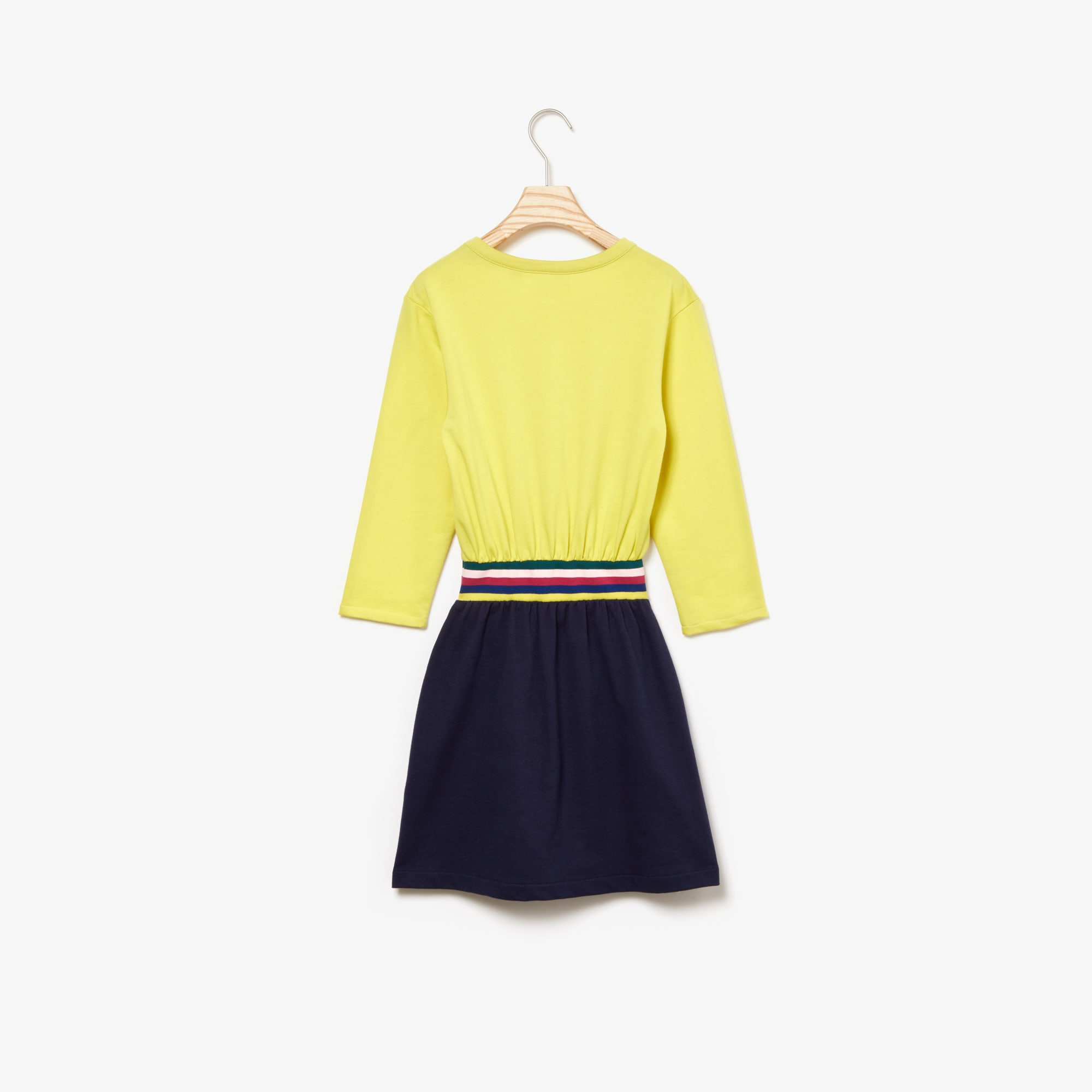 Girls' Striped Waist Colourblock Fleece Dress
