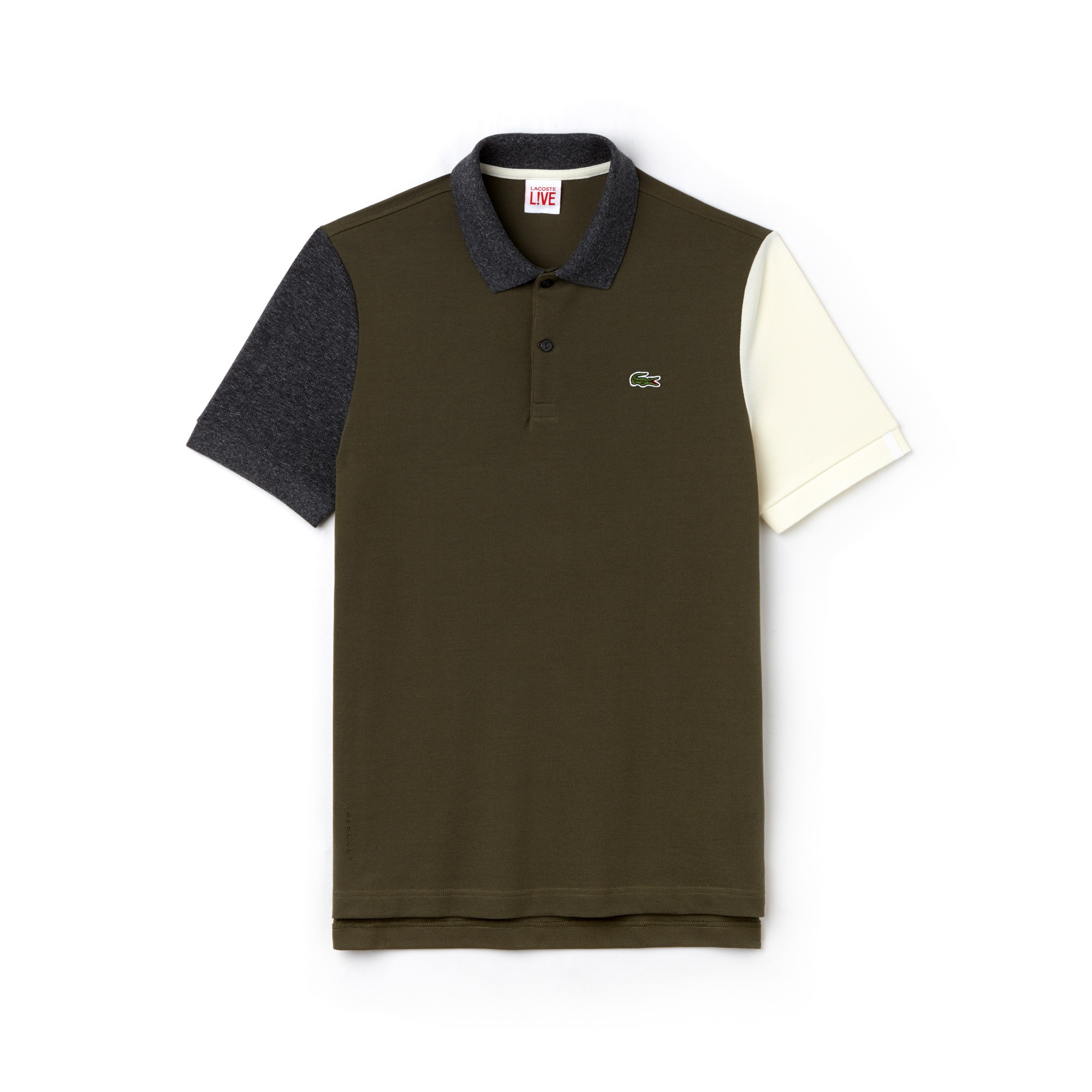 Men's Lacoste LIVE Slim Fit Colourblock Cotton Petit Piqué Polo