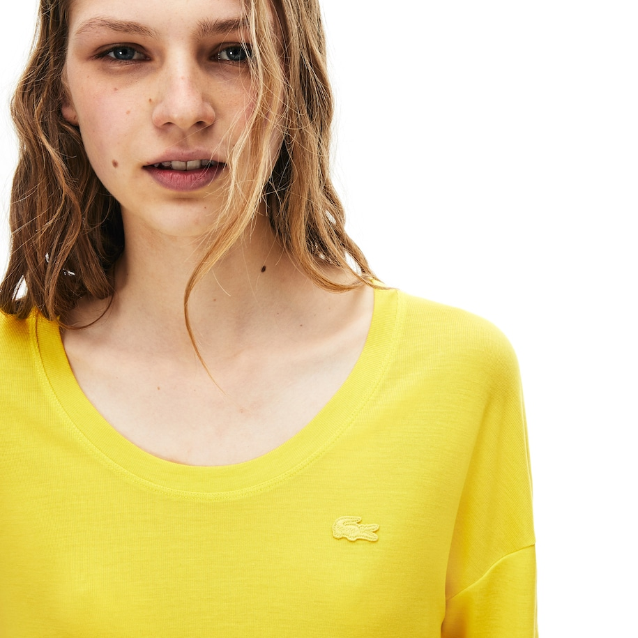 Women's Lacoste Motion Lightweight Ribbed Lyocell T-shirt