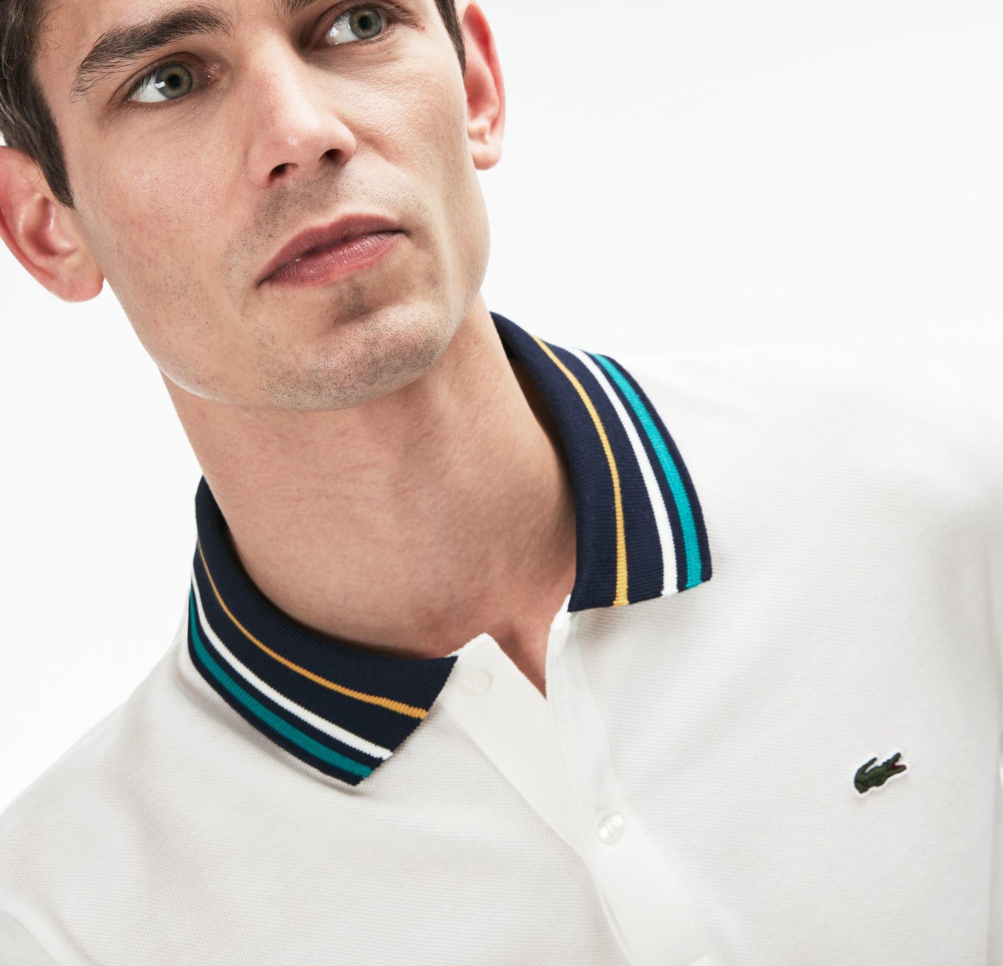 b66a74116 Men's Lacoste Slim Fit Striped Contrast Collar Petit Piqué Polo ...