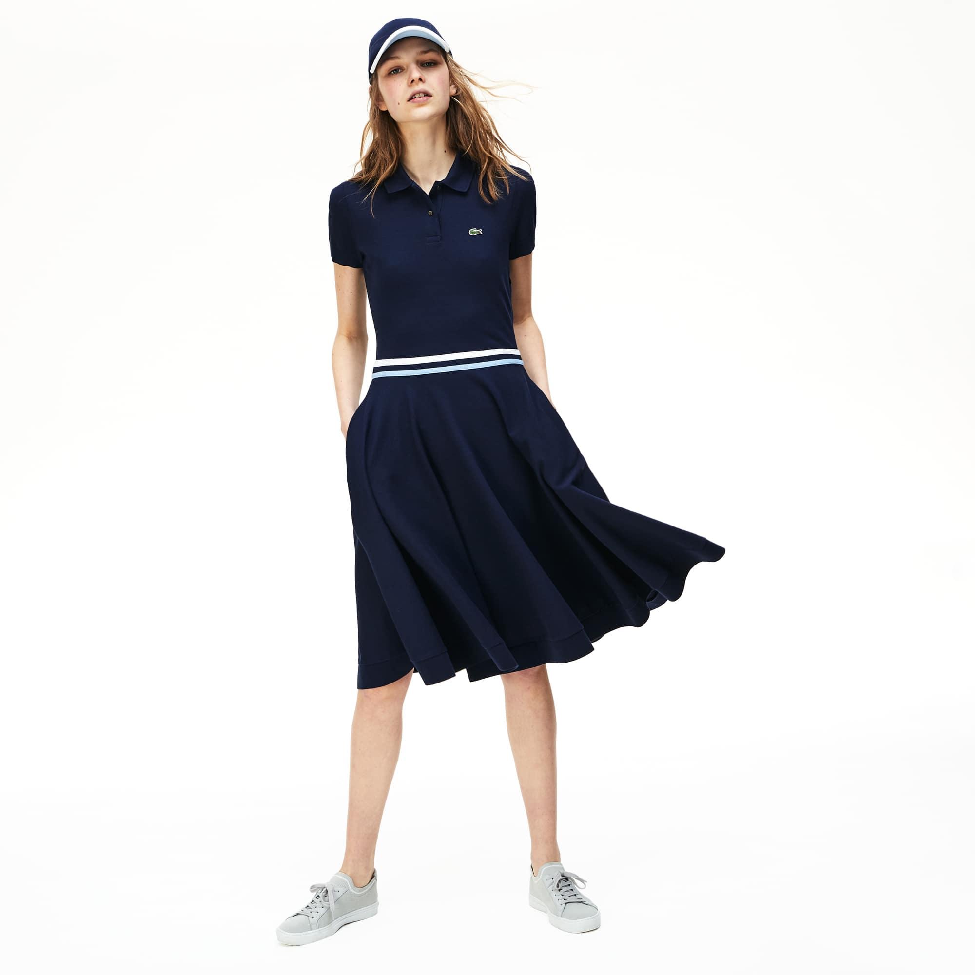 eca7b4454 Women's MADE IN FRANCE Tricolour Striped Mid-Length Polo Shirt Dress ...